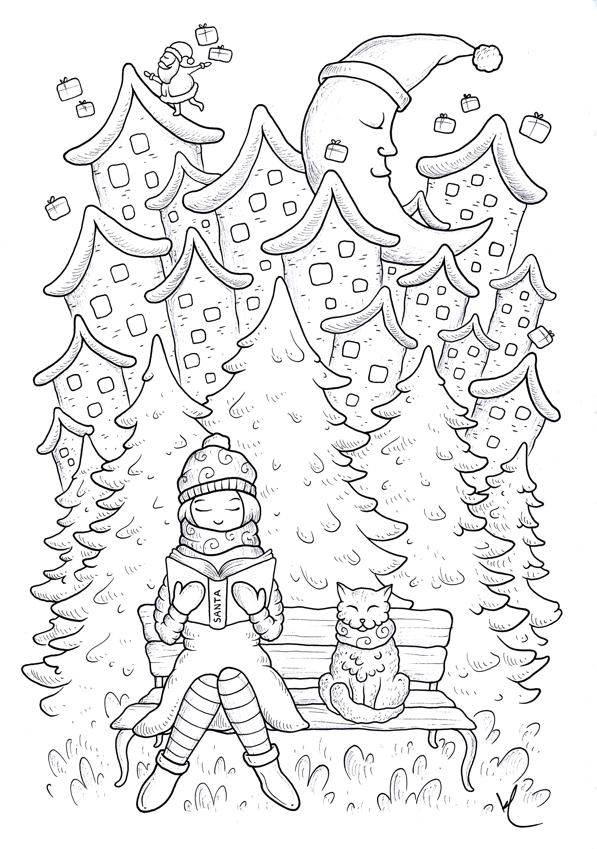coloring page quiet christmas young woman reading sitting on a bench with her cat in the background