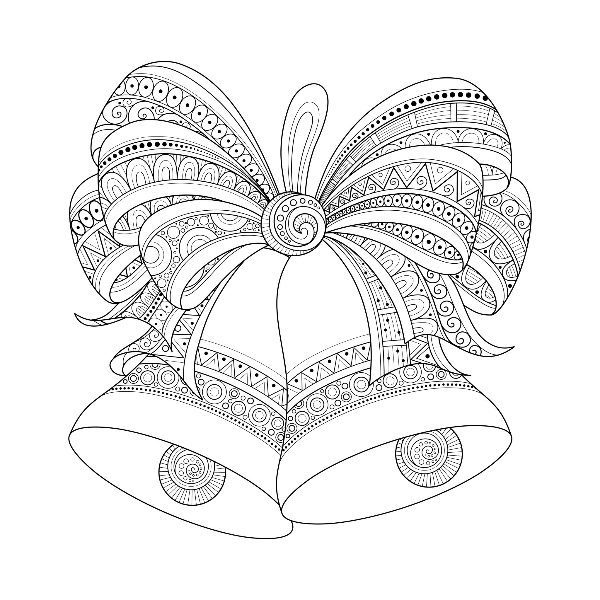christmas golden bells with bow drawn with zentangle style from the gallery events - Christmas Coloring Pages For Adults