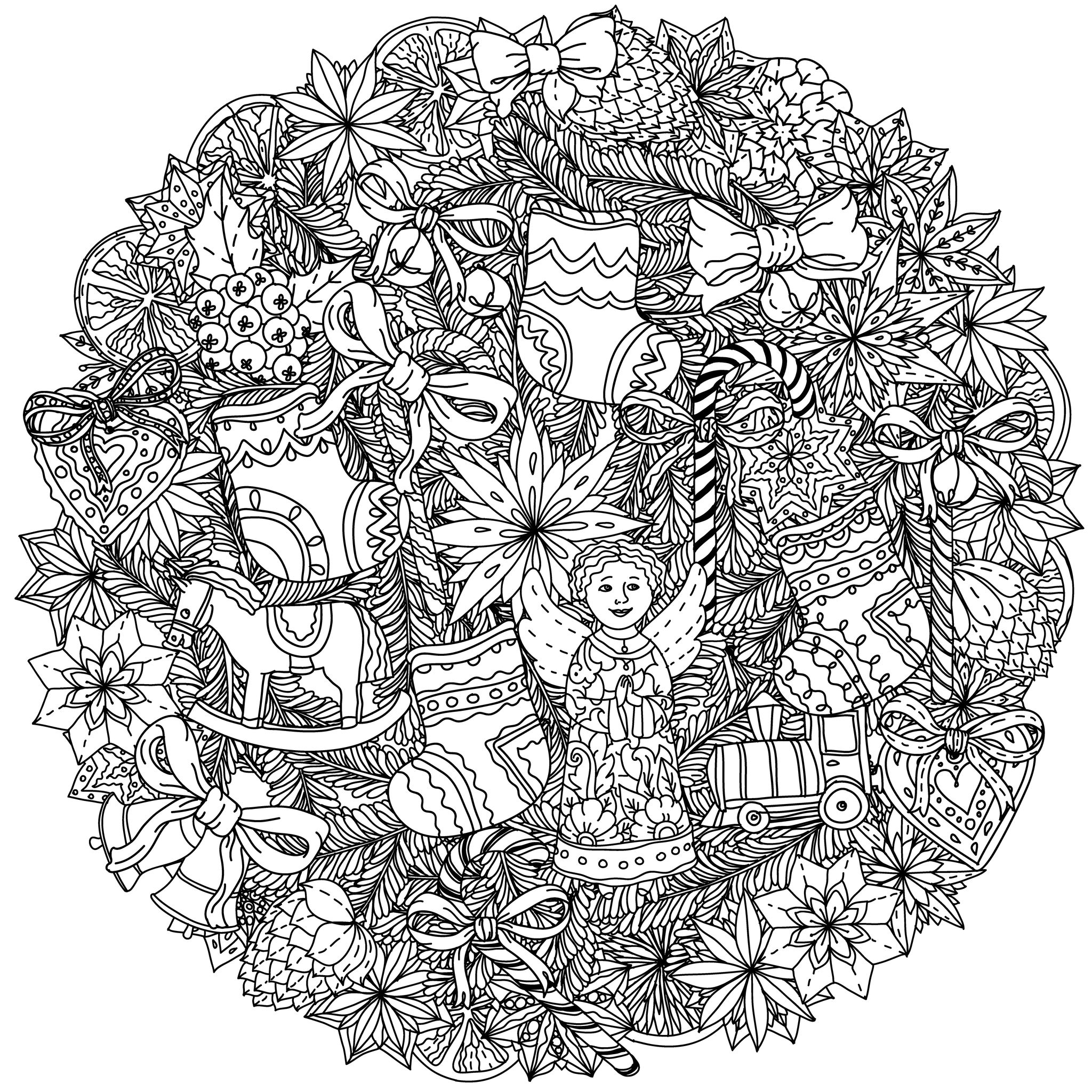 Coloring Page Christmas Mandala Wreath With Decorative Items Angels Ribbons Stars Fruits