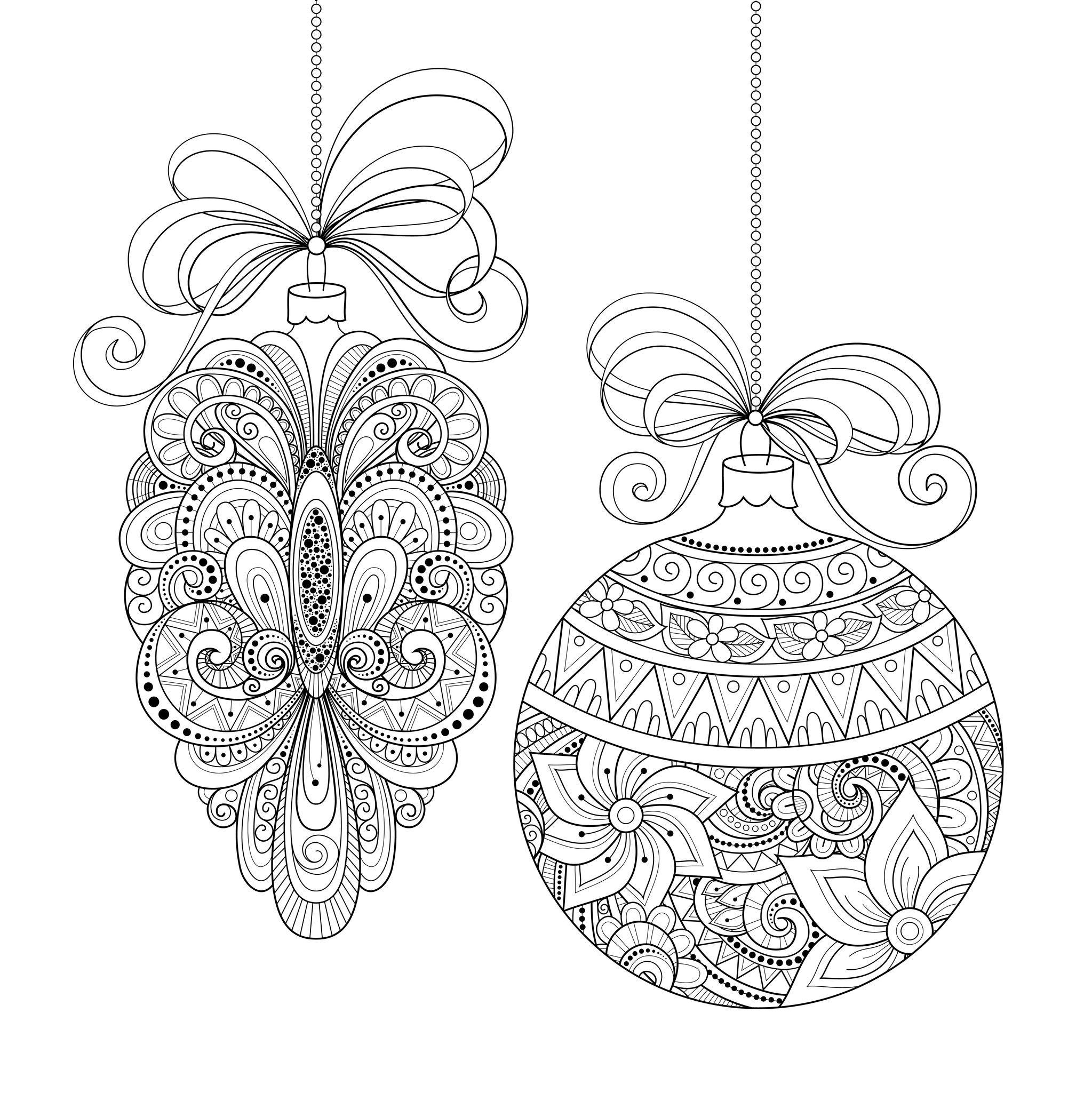 Christmas ornaments christmas adult coloring pages for Adult christmas coloring pages