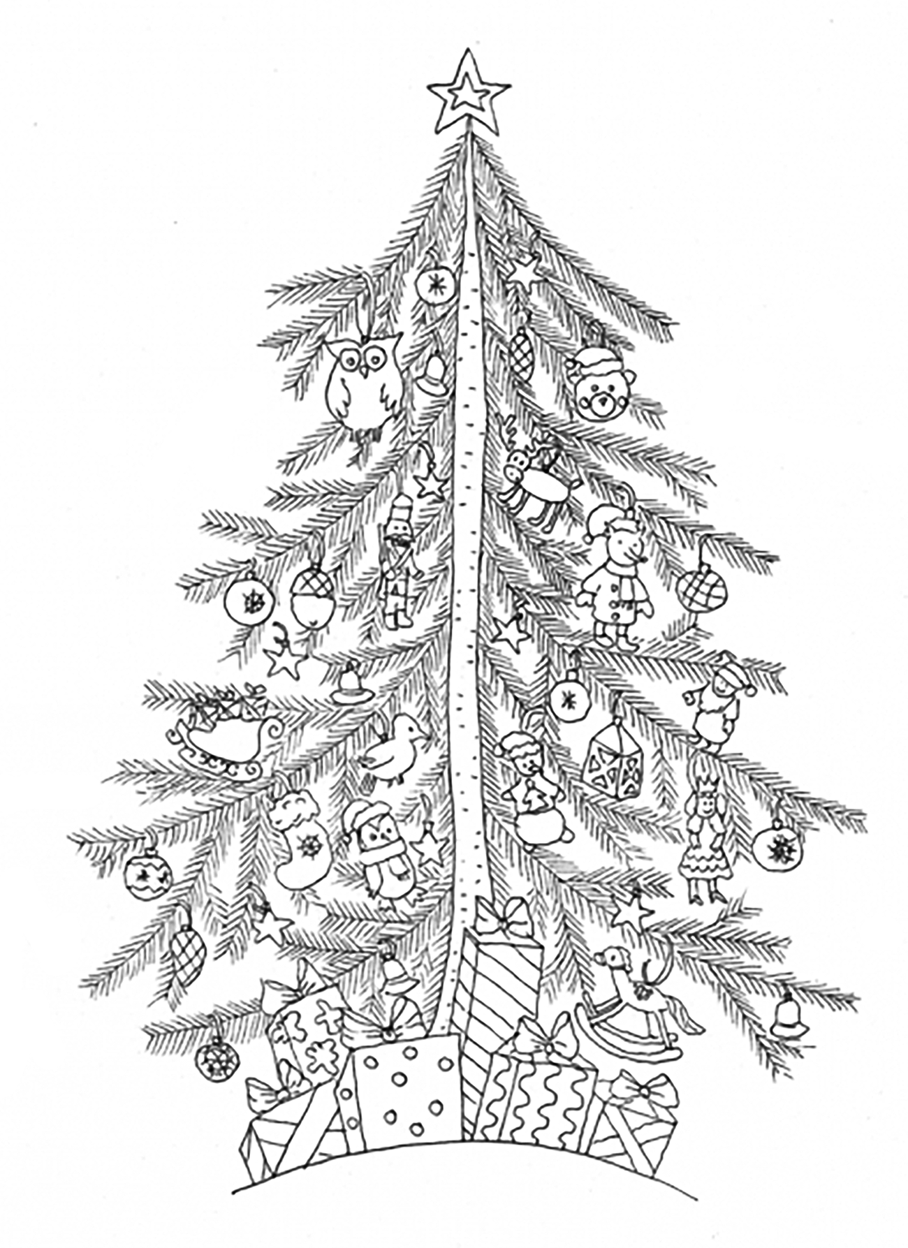 Christmas tree simple - Christmas Adult Coloring Pages