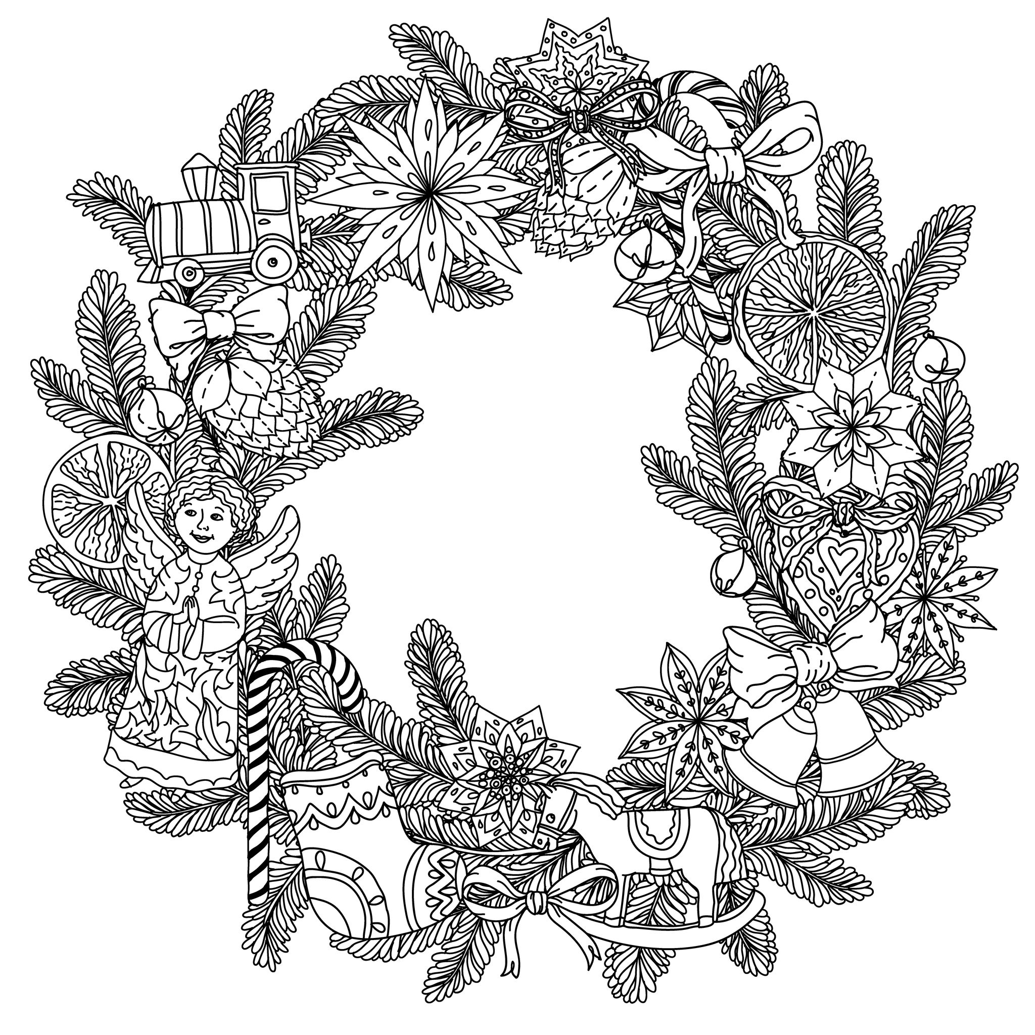 Coloring Page Christmas Wreath Beautiful With Decorative Items Angel Stars Socks And Gifts