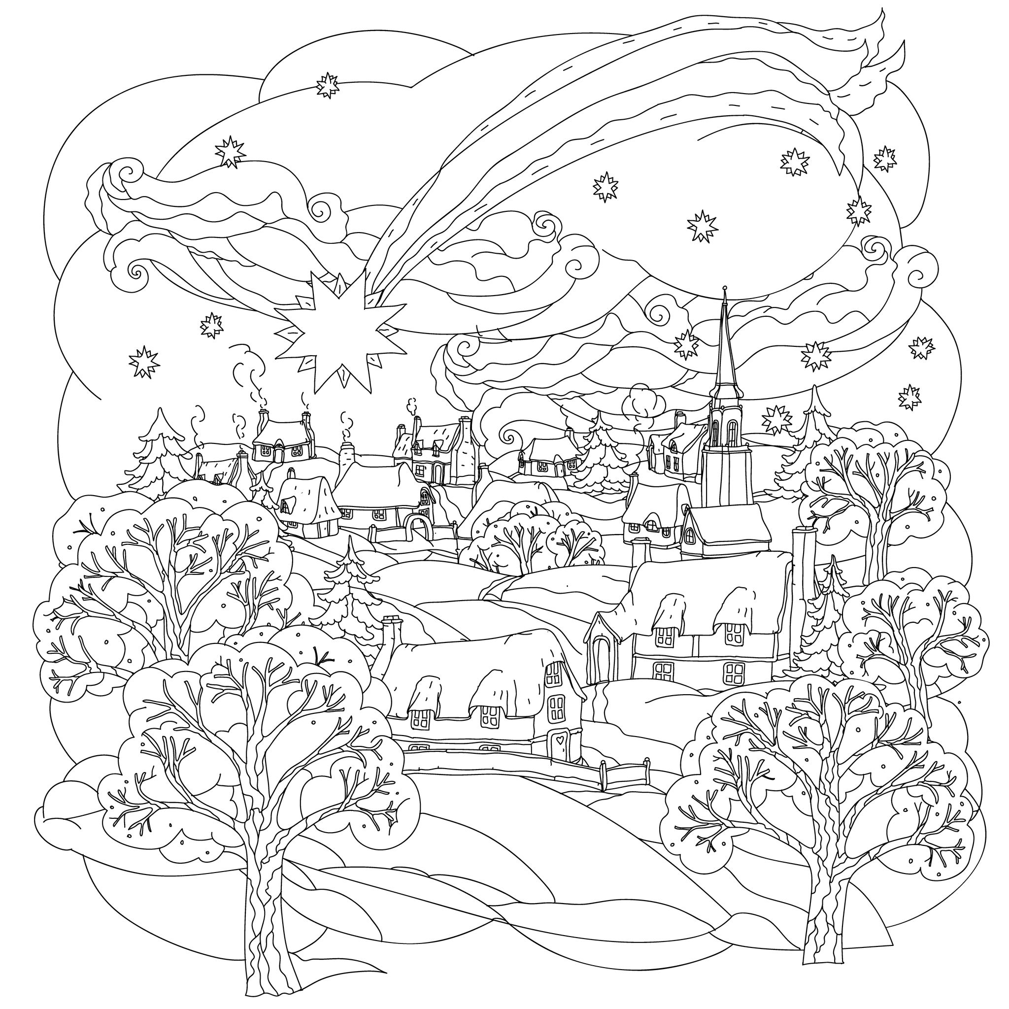 Christmas Star Flies Over Winter Village A Beautiful And Simple Coloring Page