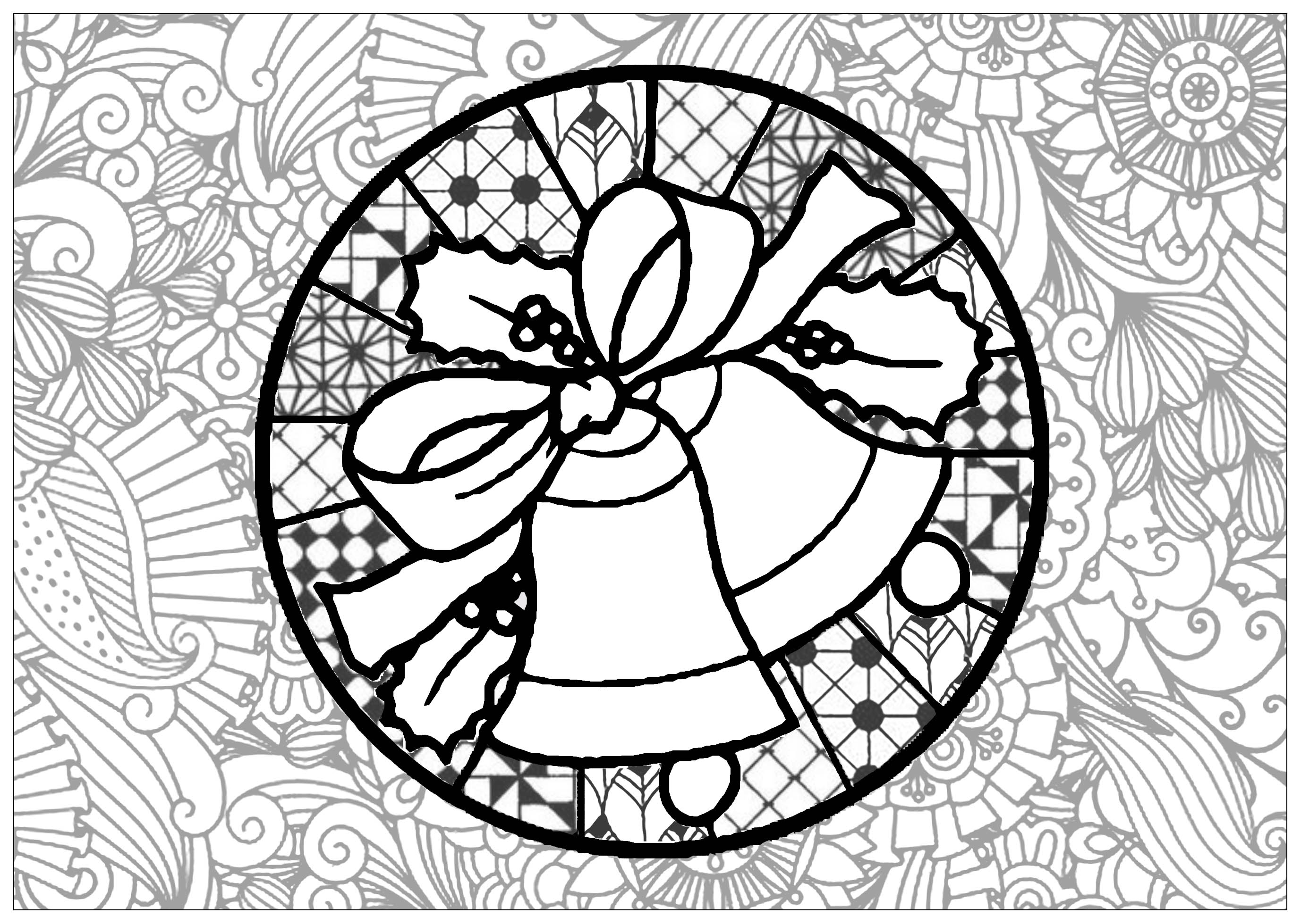 Very complex coloring page, with the Christmas Bells and many different patterns