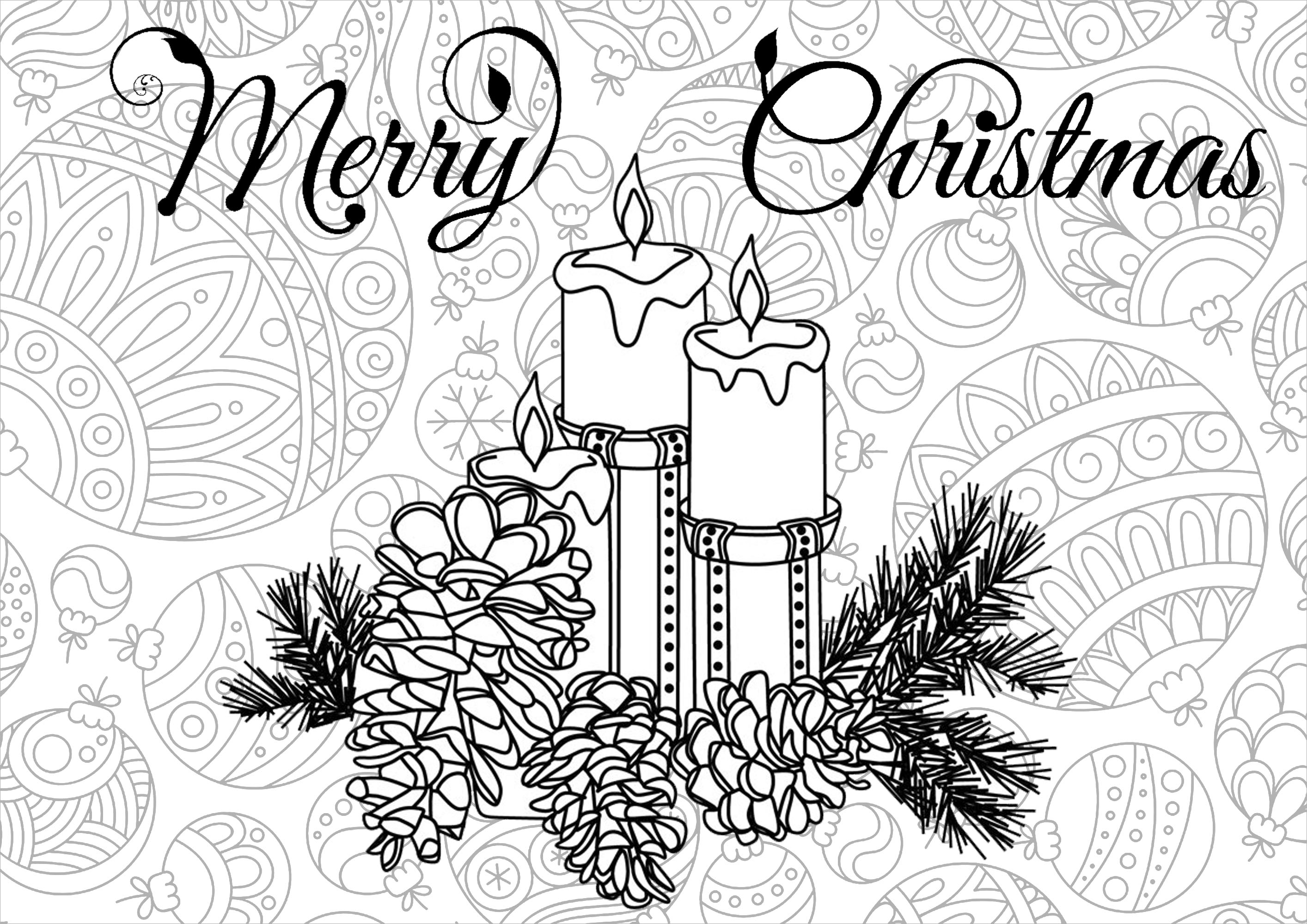 christmas detailed coloring pages | Christmas candles and balls - Christmas Adult Coloring Pages