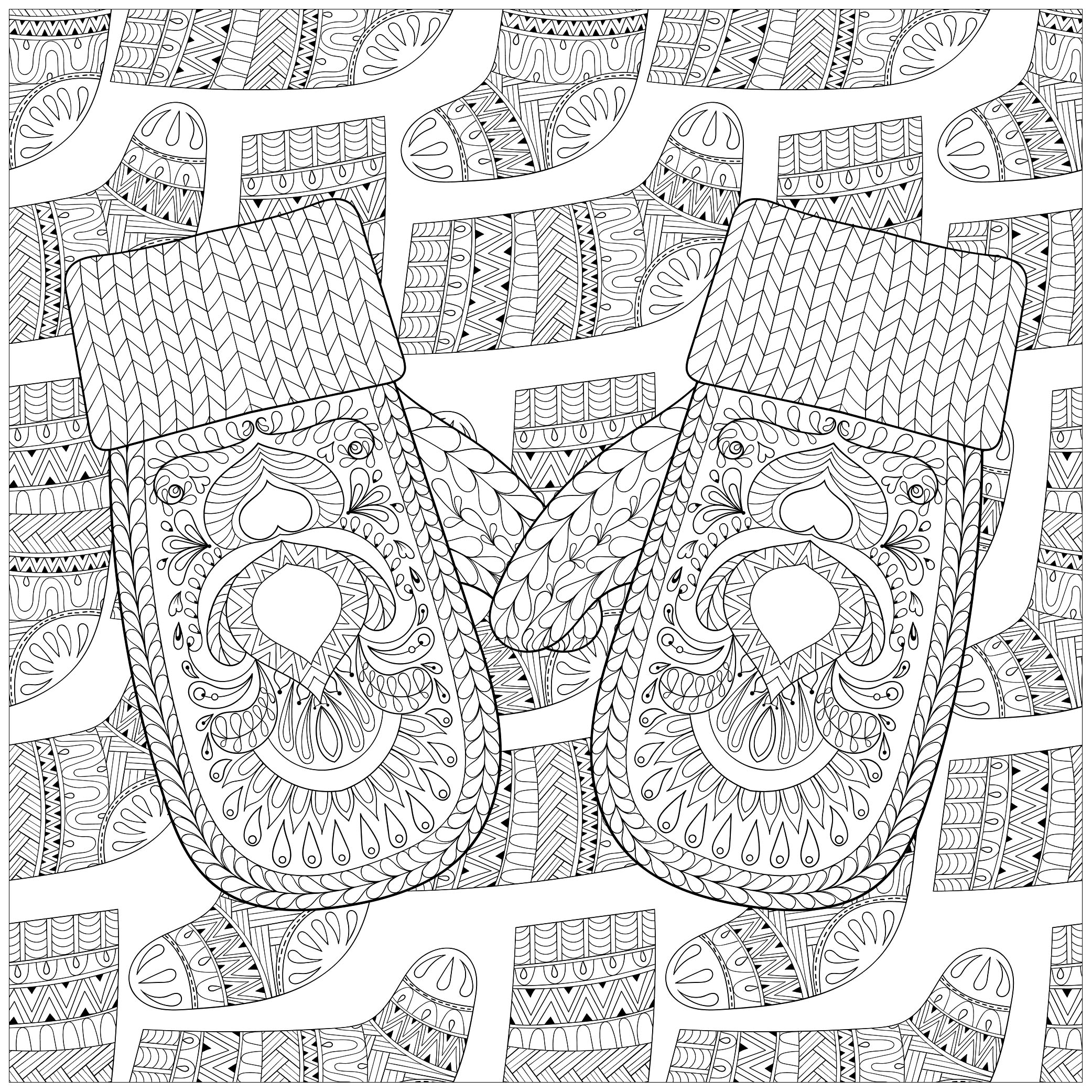 Christmas gloves and socks - Christmas Adult Coloring Pages