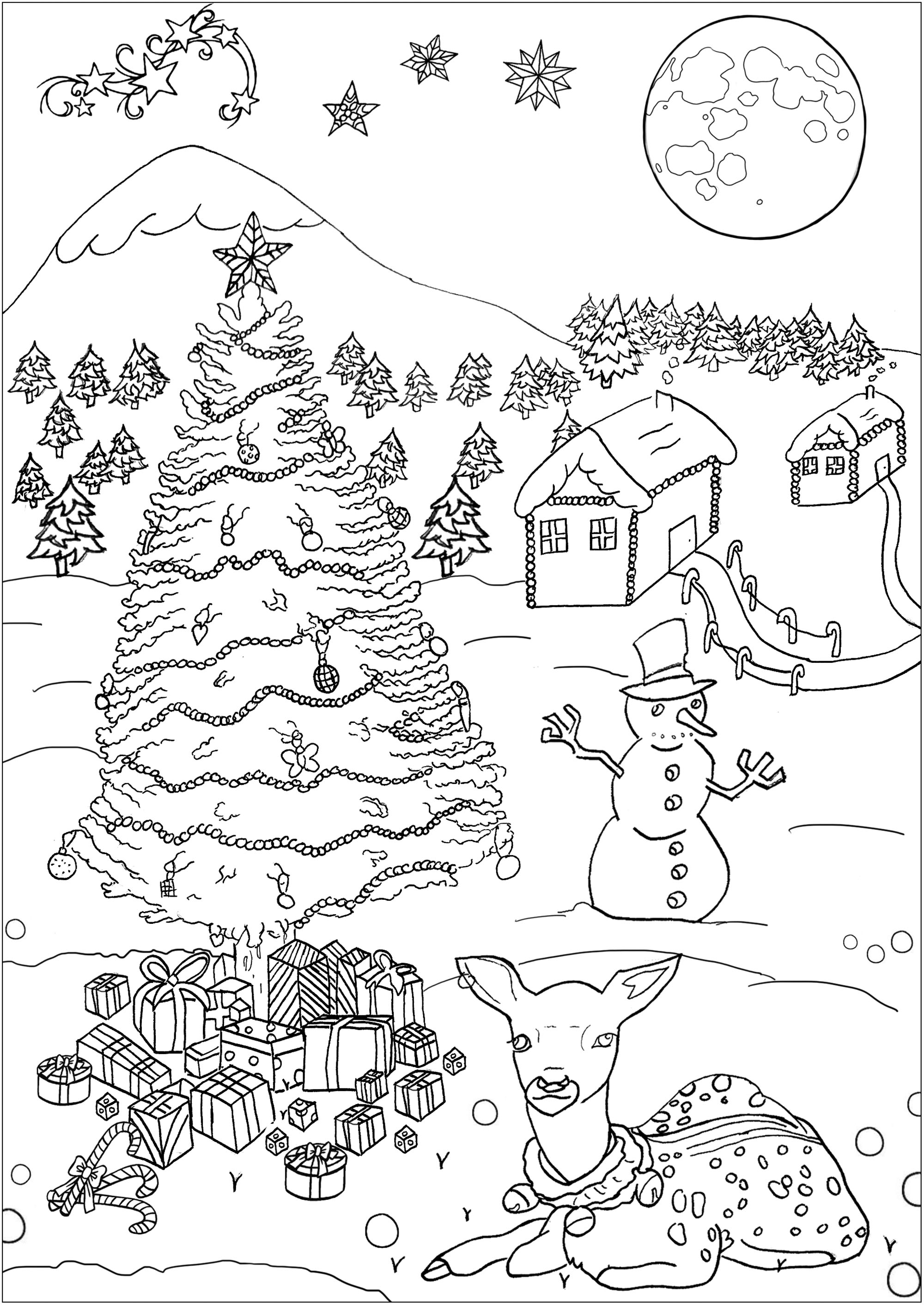 Christmas Landscape Christmas Adult Coloring Pages