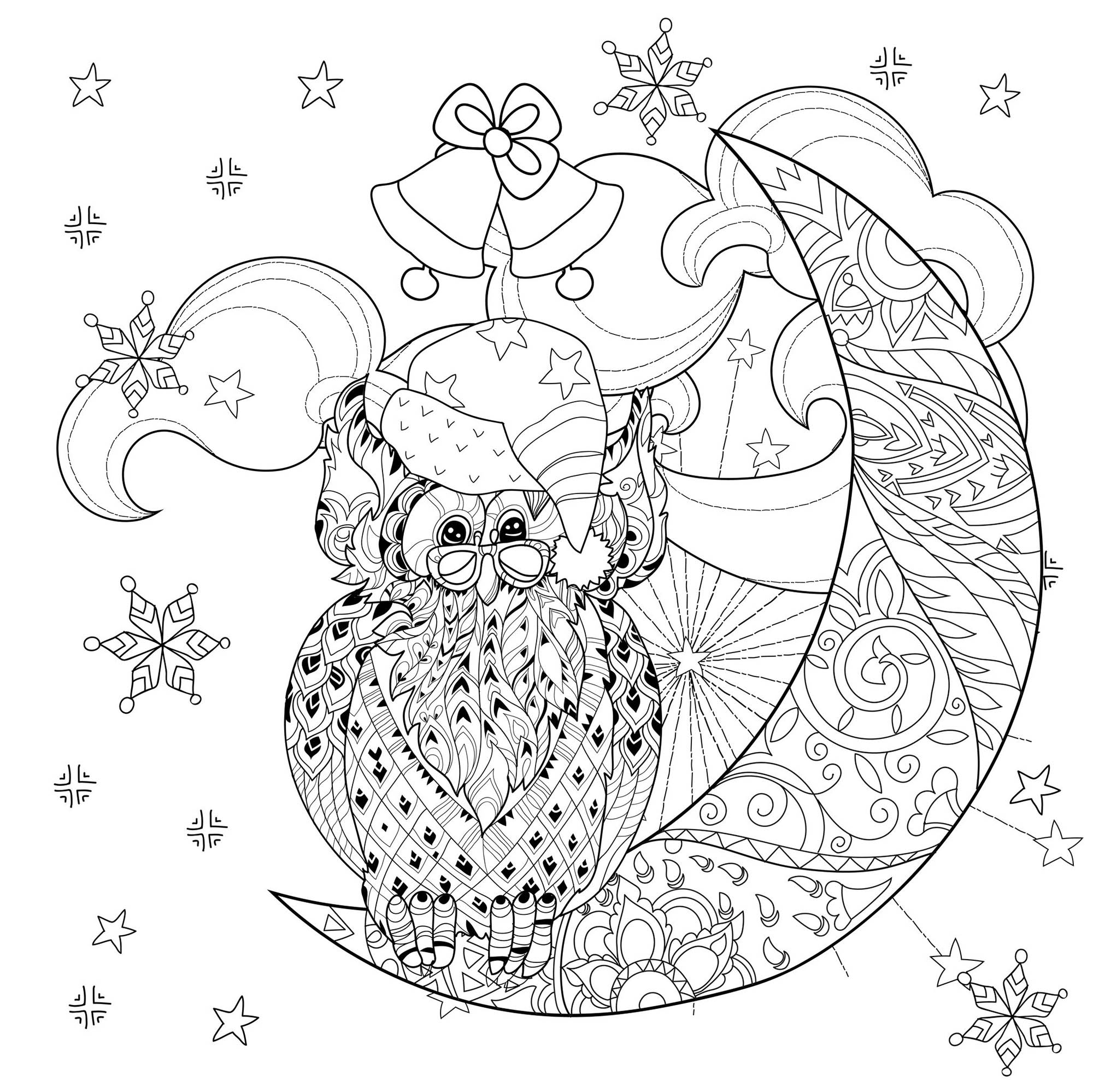Christmas owl on moon - Christmas Adult Coloring Pages
