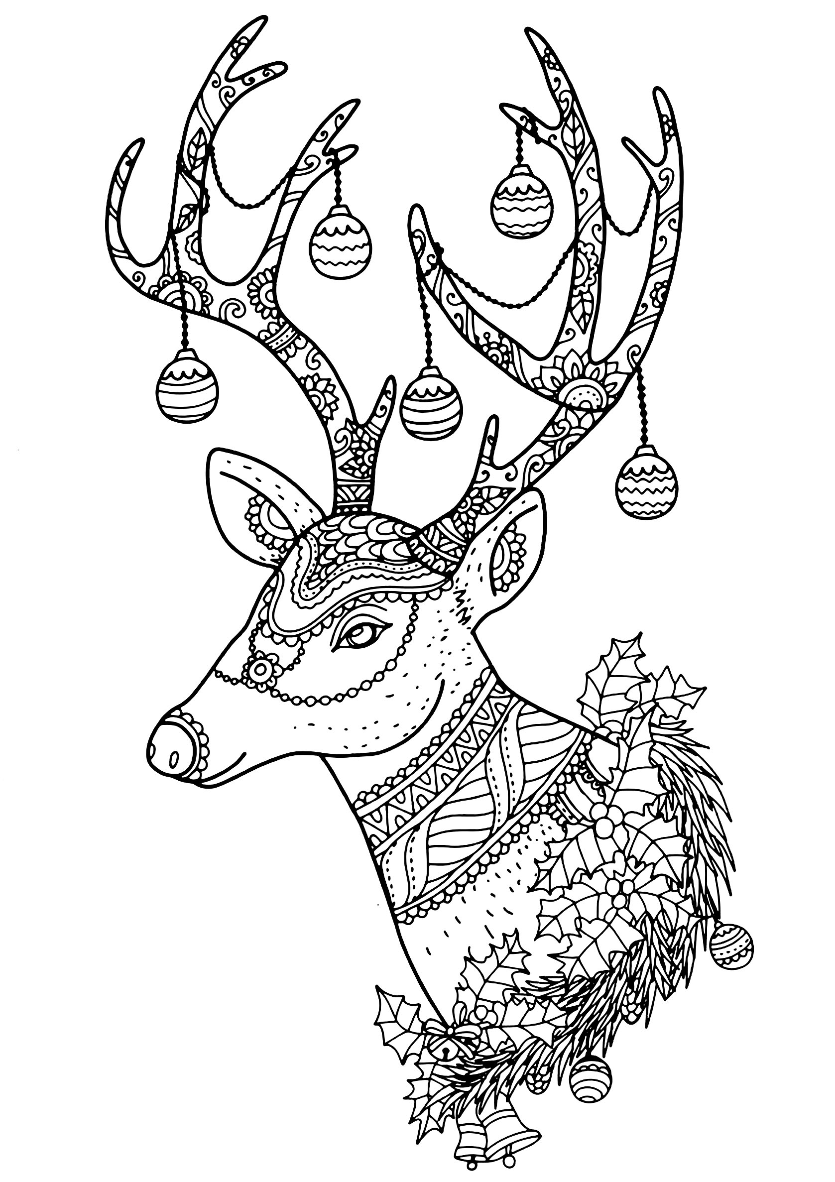 coloring page christmas reindeer nontachai hengtragool christmas reindeer with beautiful patterns