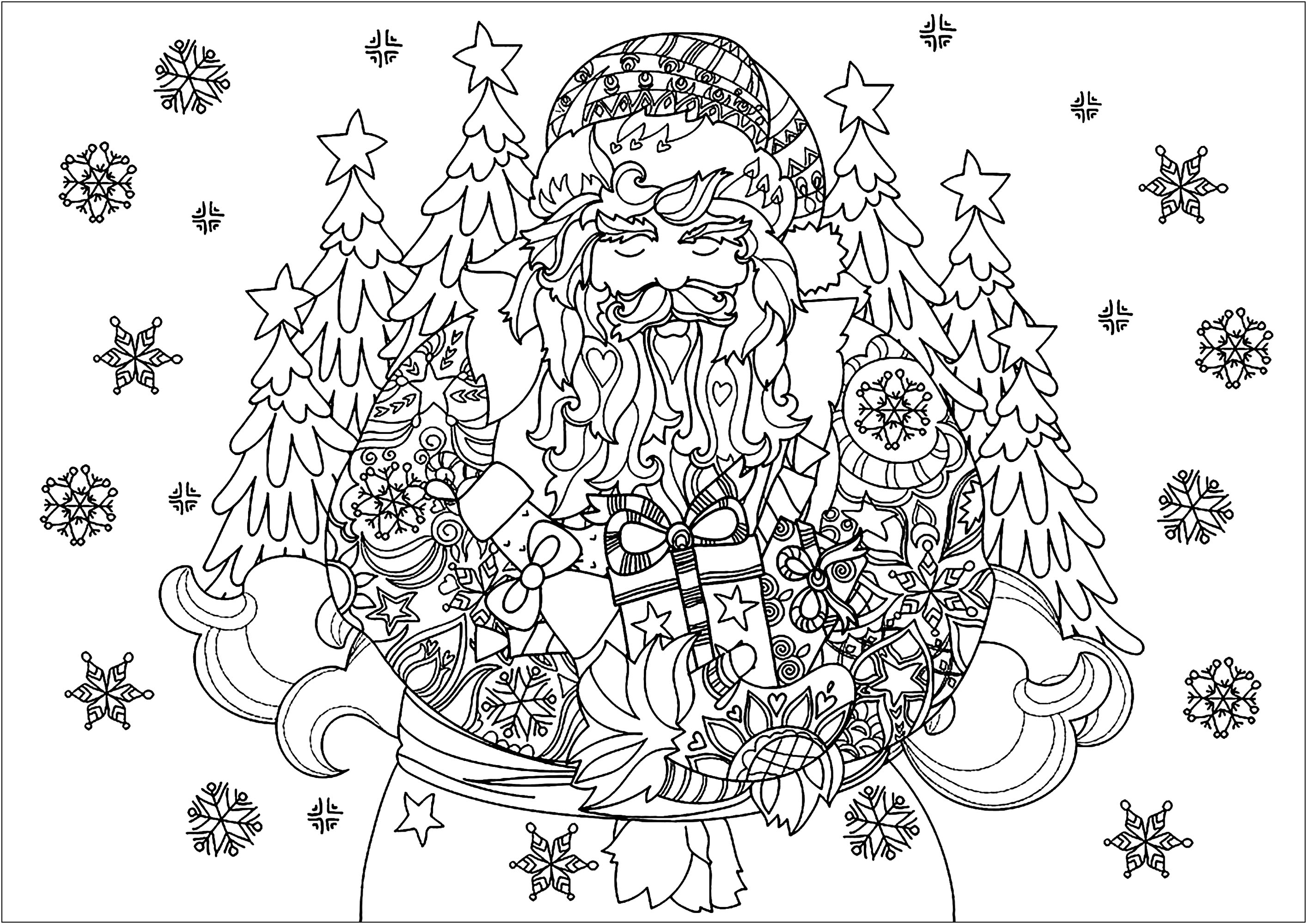 Santa Claus Coloring Pages For Adults