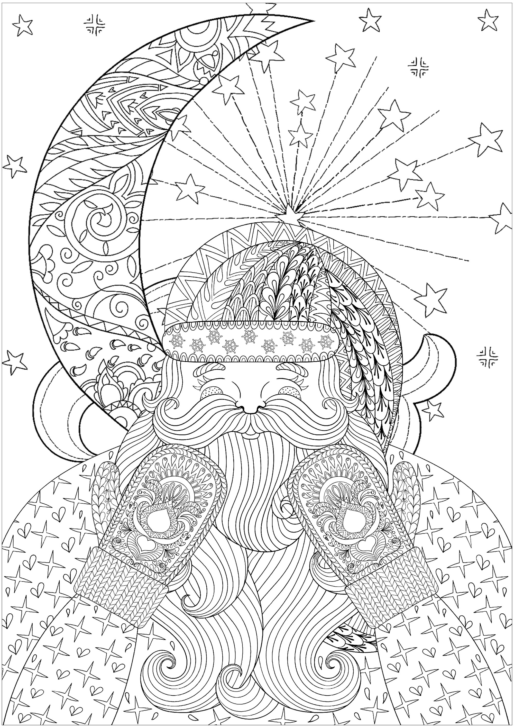 coloring page christmas santa claus with gloves and moon happy santa with knitted mittens you can also color this beautiful moon and stars in