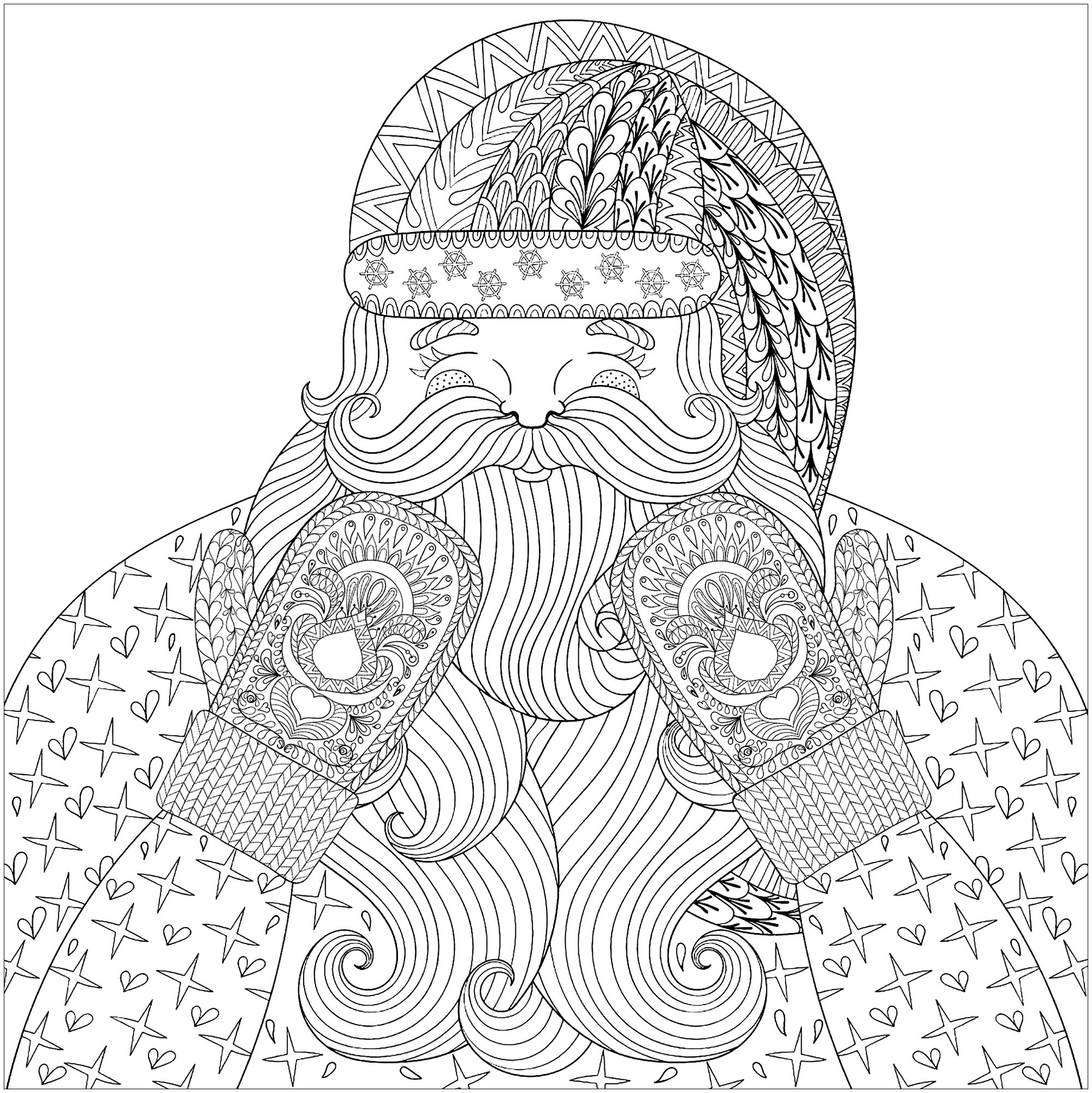 color this smiling and happy santa claus with knitted mittens with patterns designed in zentangle