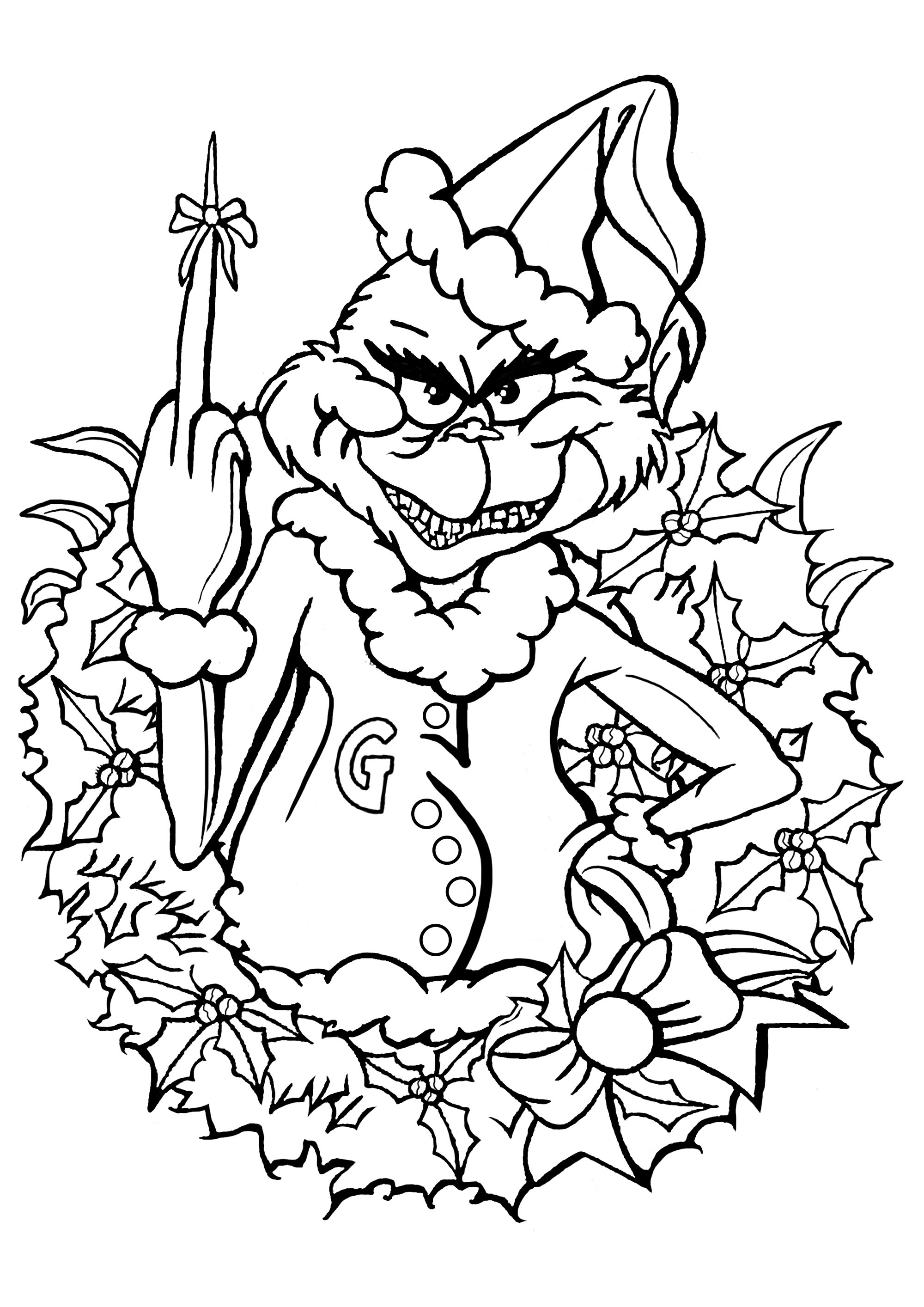 coloring page the grinch celebrate christmas with the grinch he has a small gift for you
