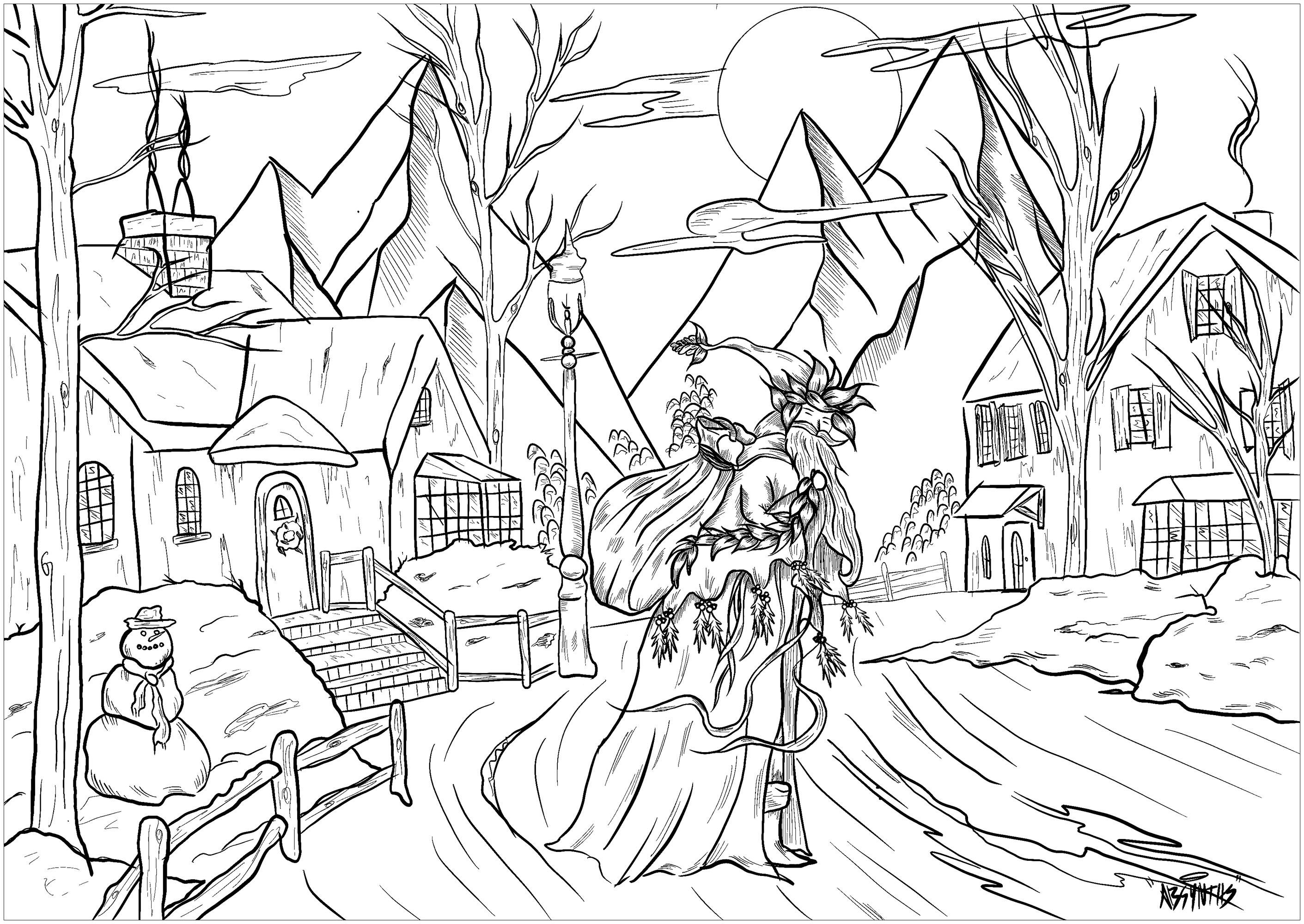 Christmas village and Santa Claus