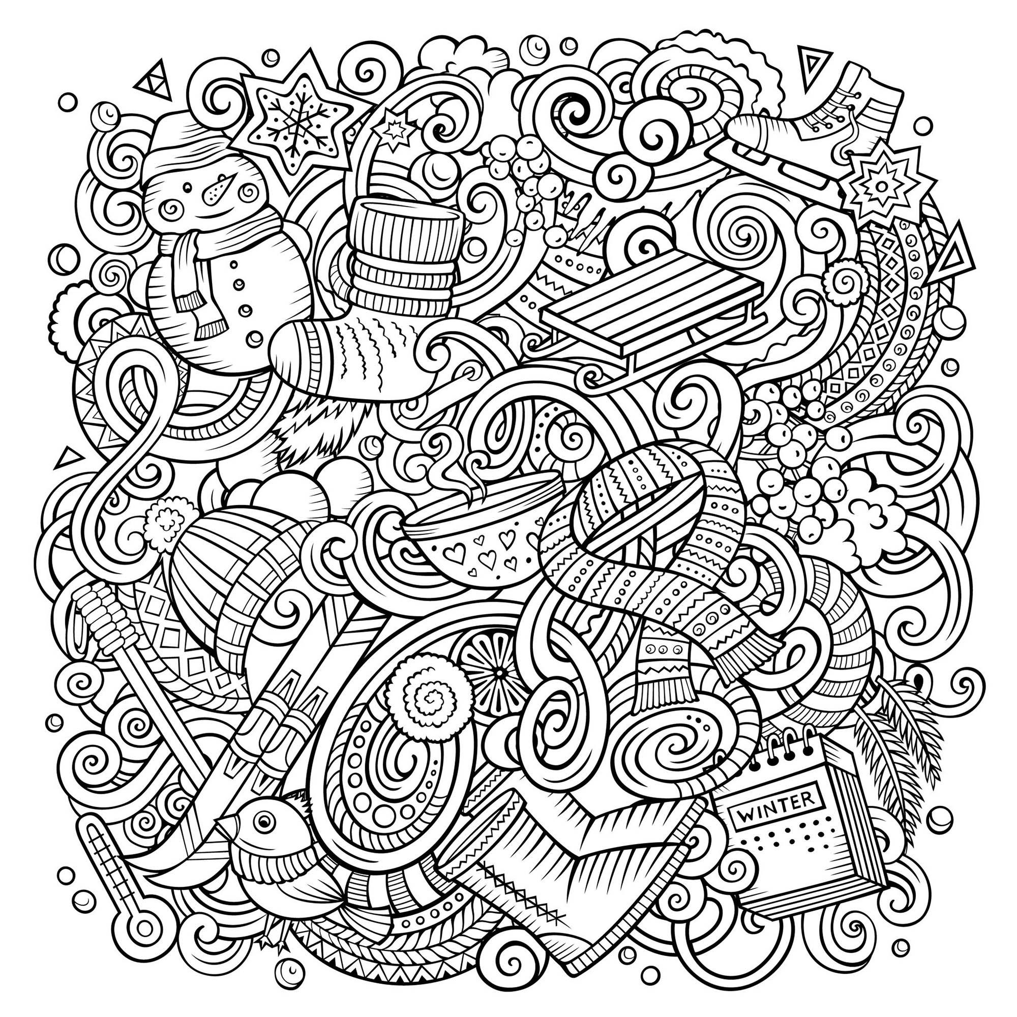 Cartoon doodles Winter is here