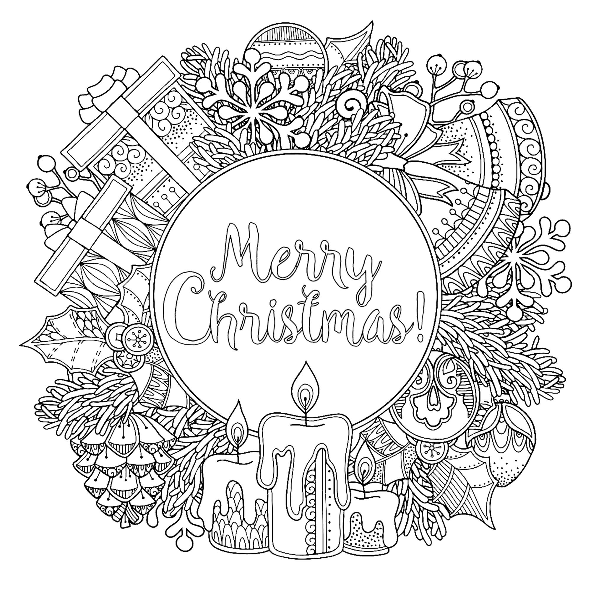 Doodl Christmas wreath - Christmas Adult Coloring Pages