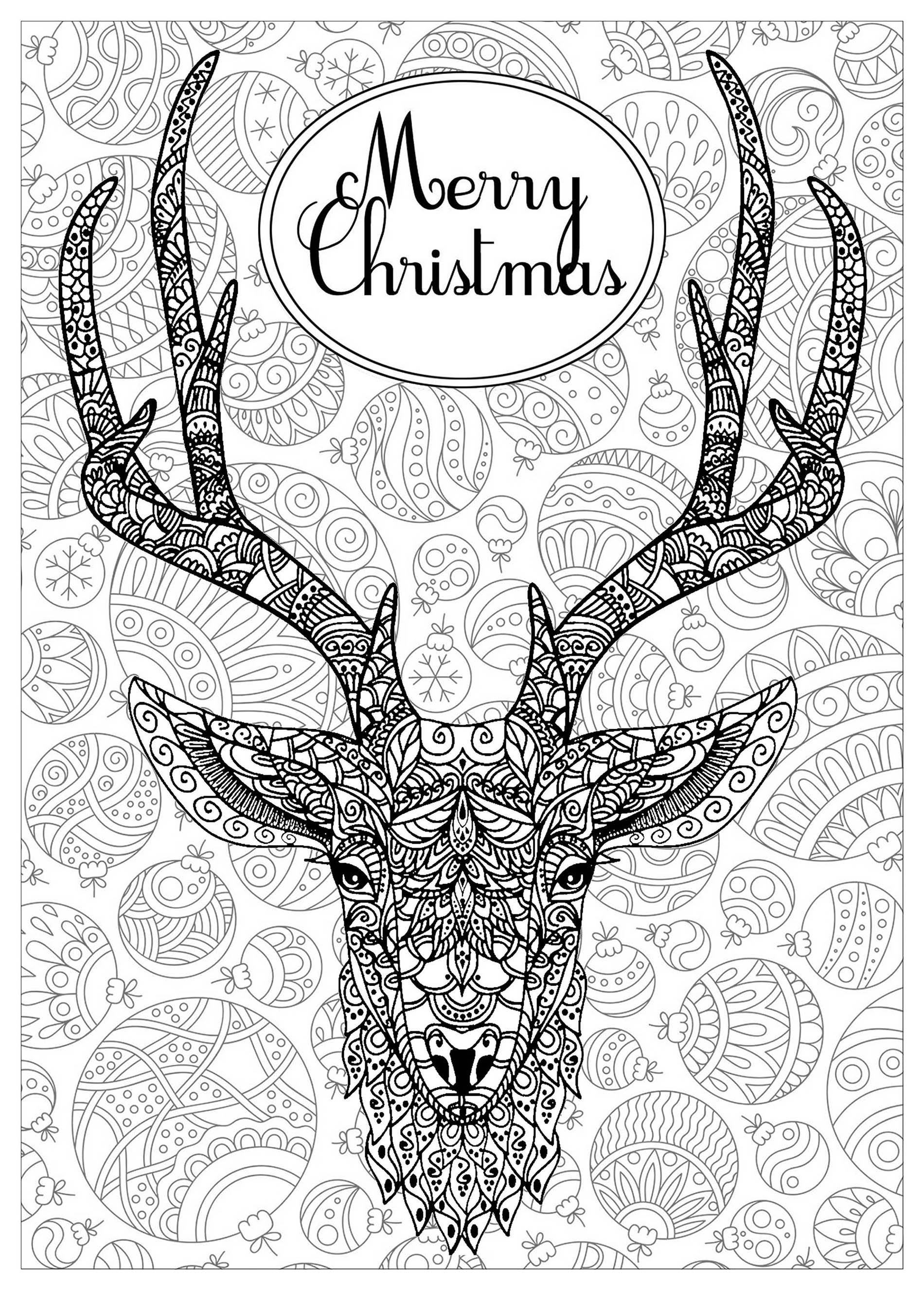 Deer with text and background Christmas Coloring pages for adults