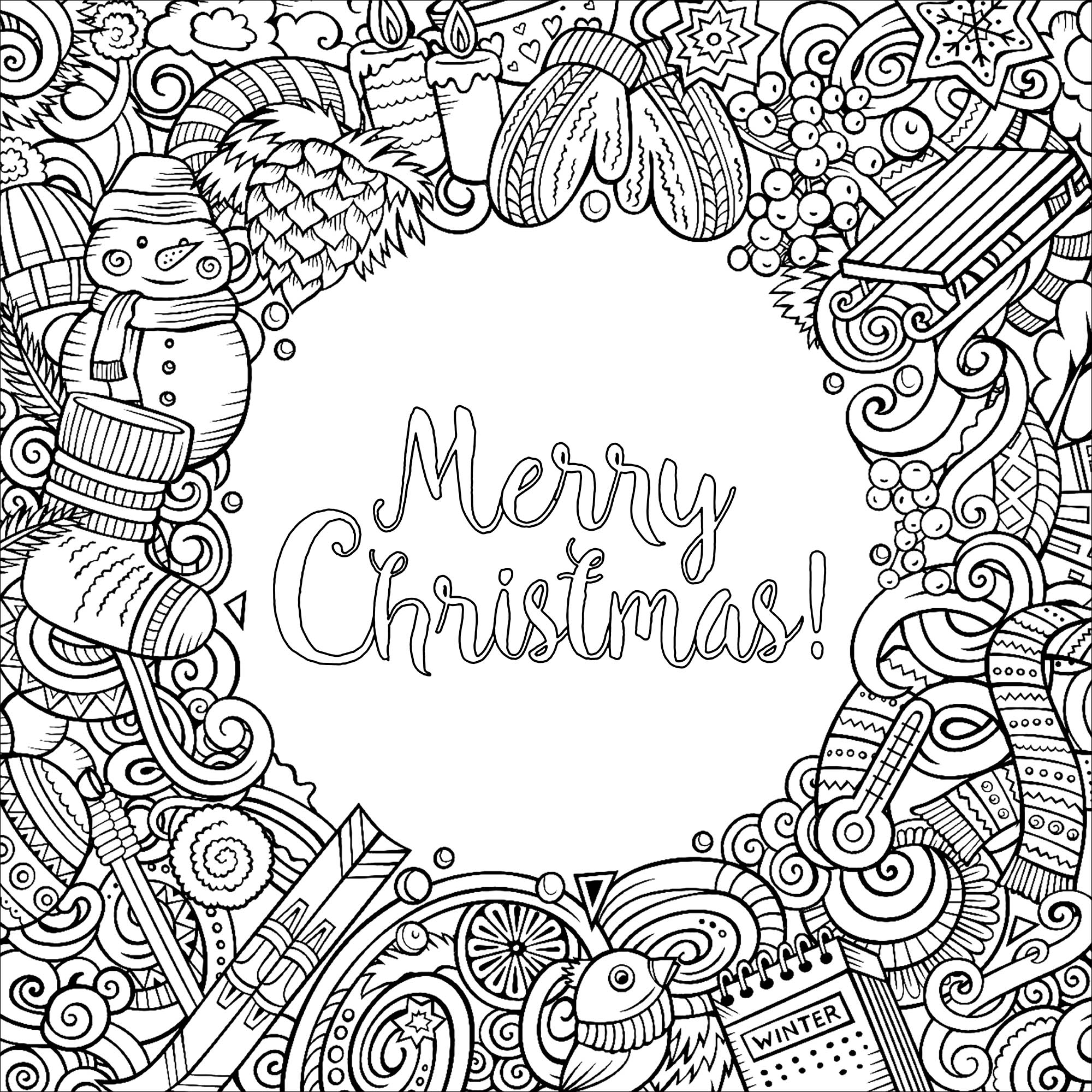 winter cartoon vector doodles square frame design with the text merry christmas