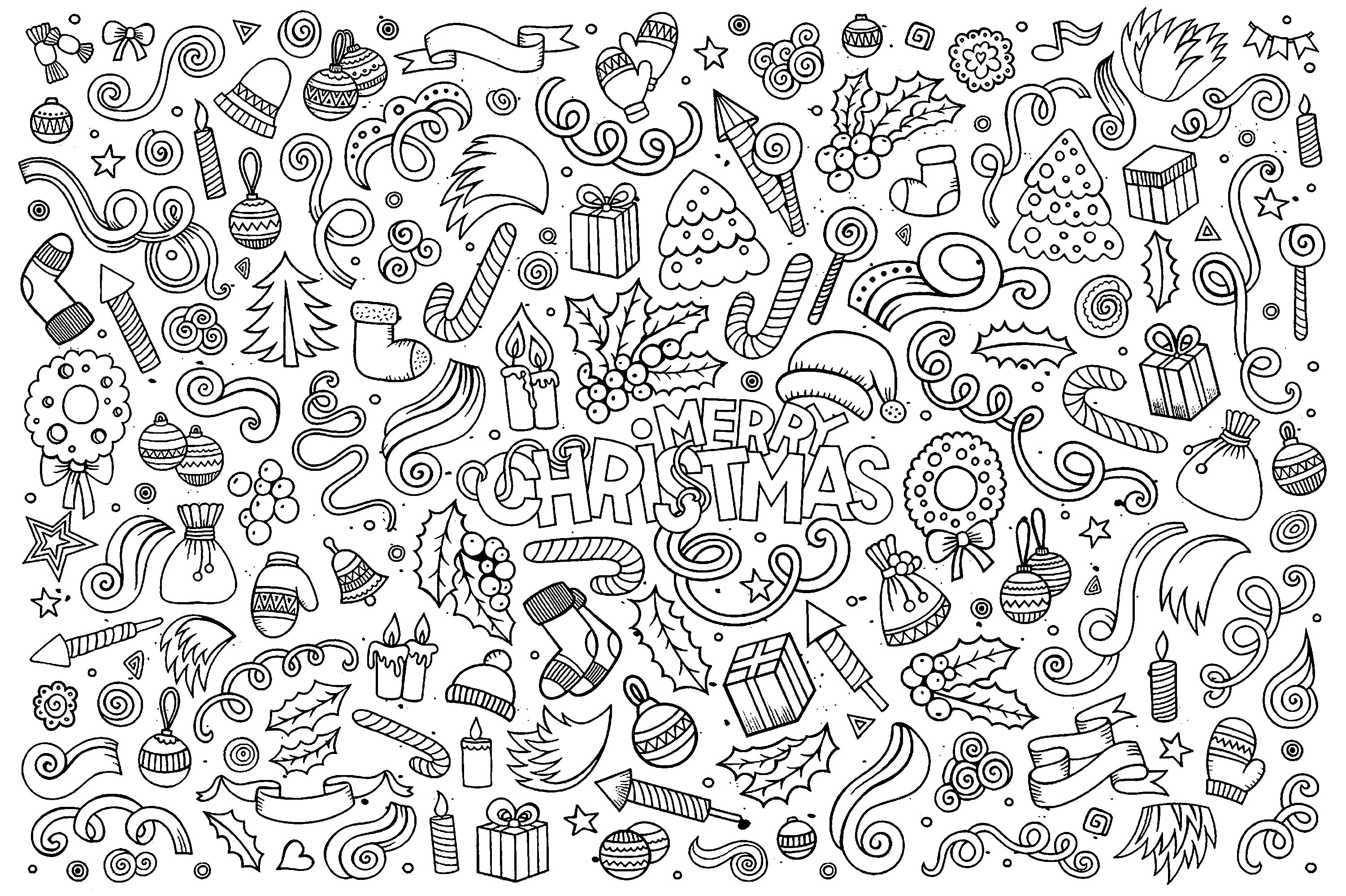various objects linked to celebrate the magic of christmas in an incredible coloring page