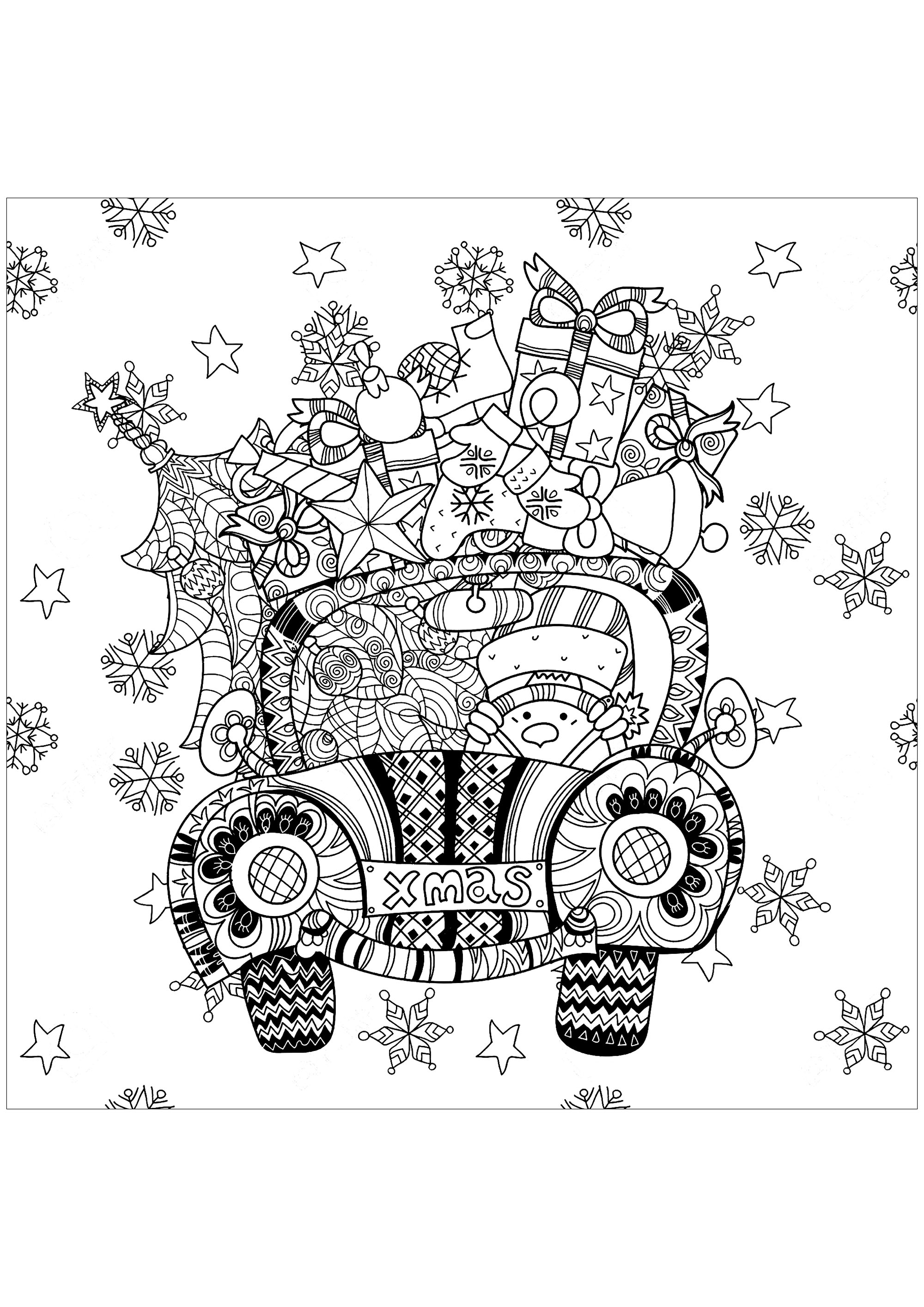 Coloring Page Christmas Gifts In A Car Add Some Colors To These That Fill This Little Driven By Snowman