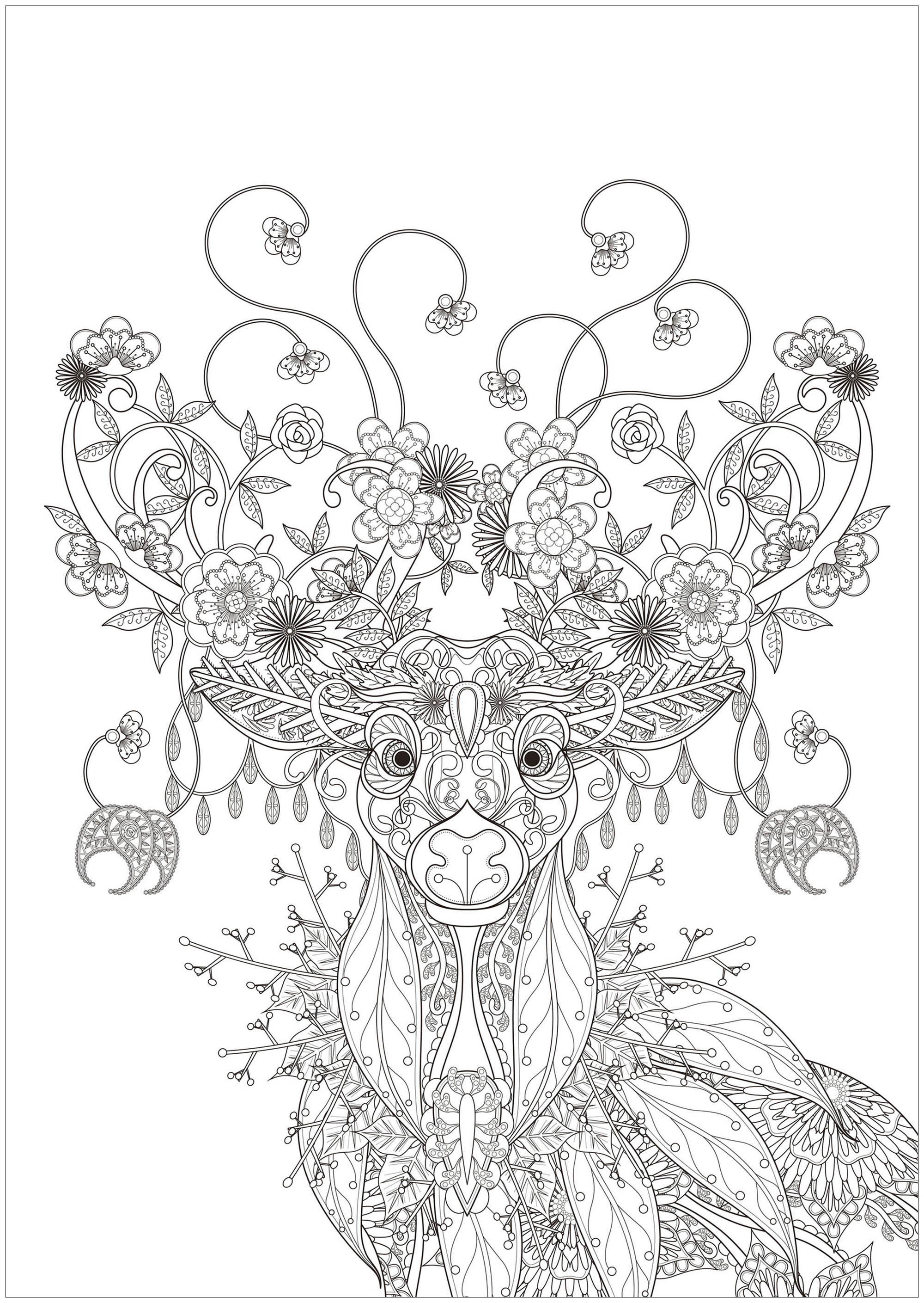 Deer With Flower Patterns Christmas Adult Coloring Pages