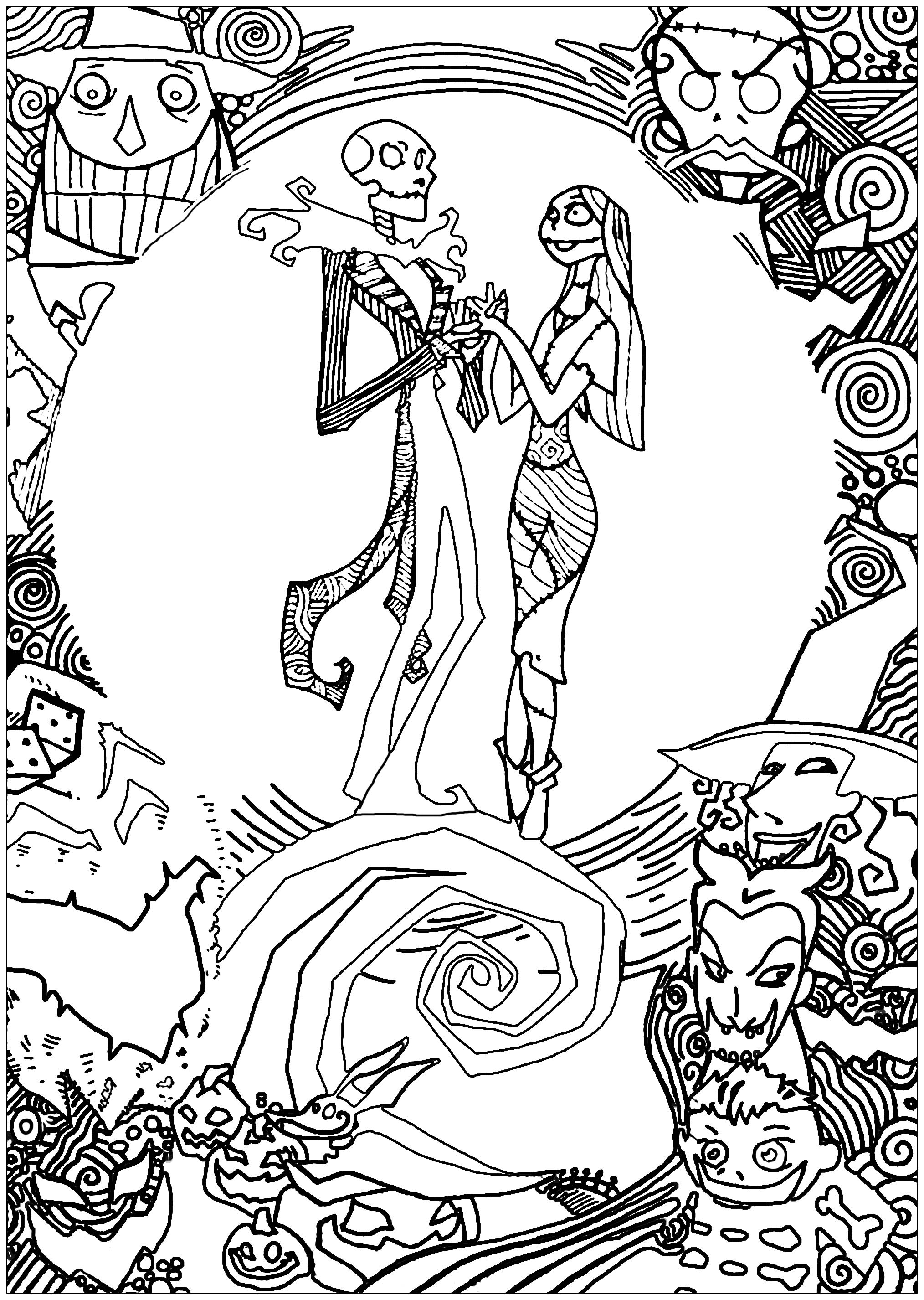 Nightmare Before Christmas Coloring Pages Nighmare Before Christmas With Sully  Christmas  Coloring Pages