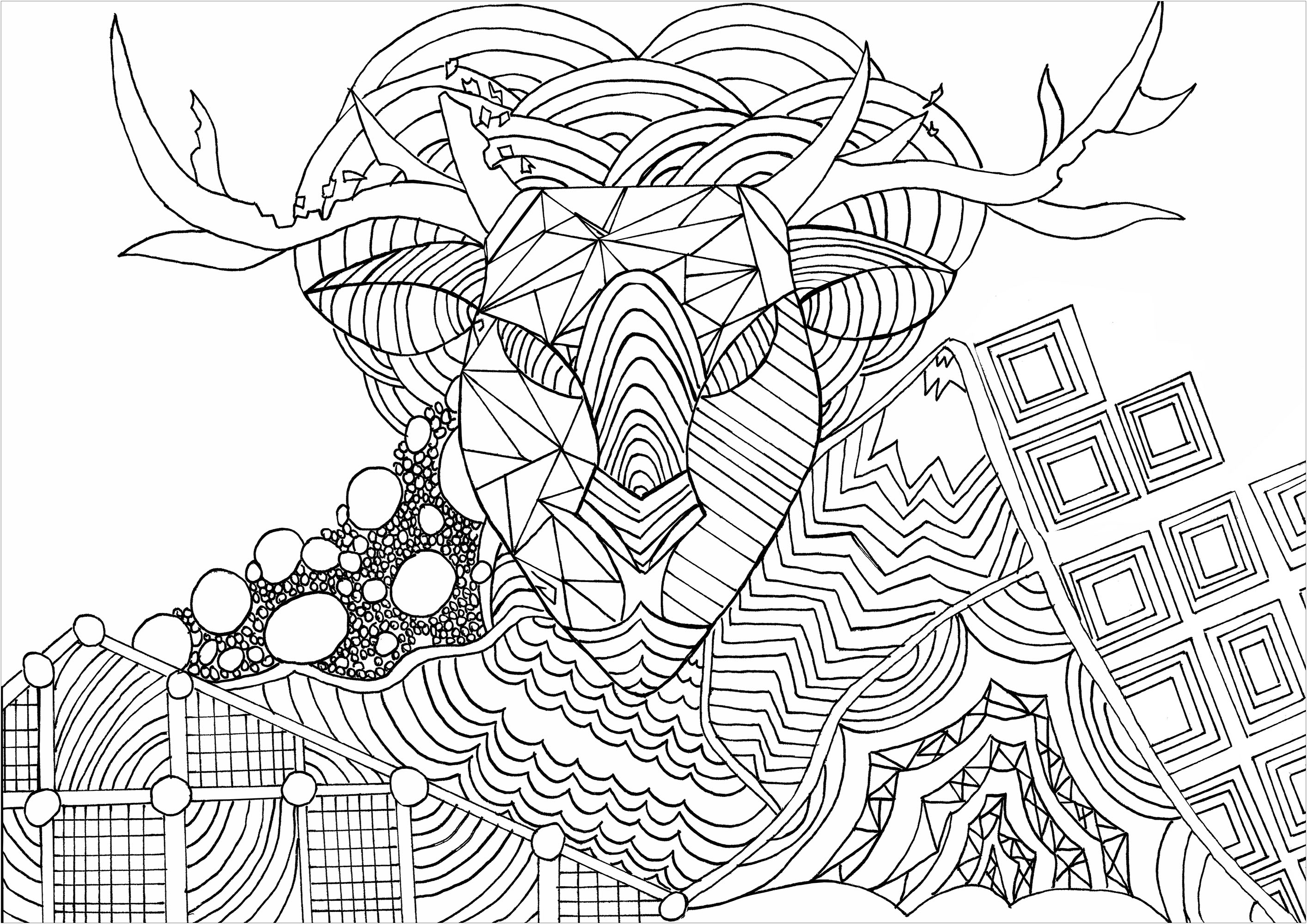 A Christmas Reindeer drawn with Zentangle patterns