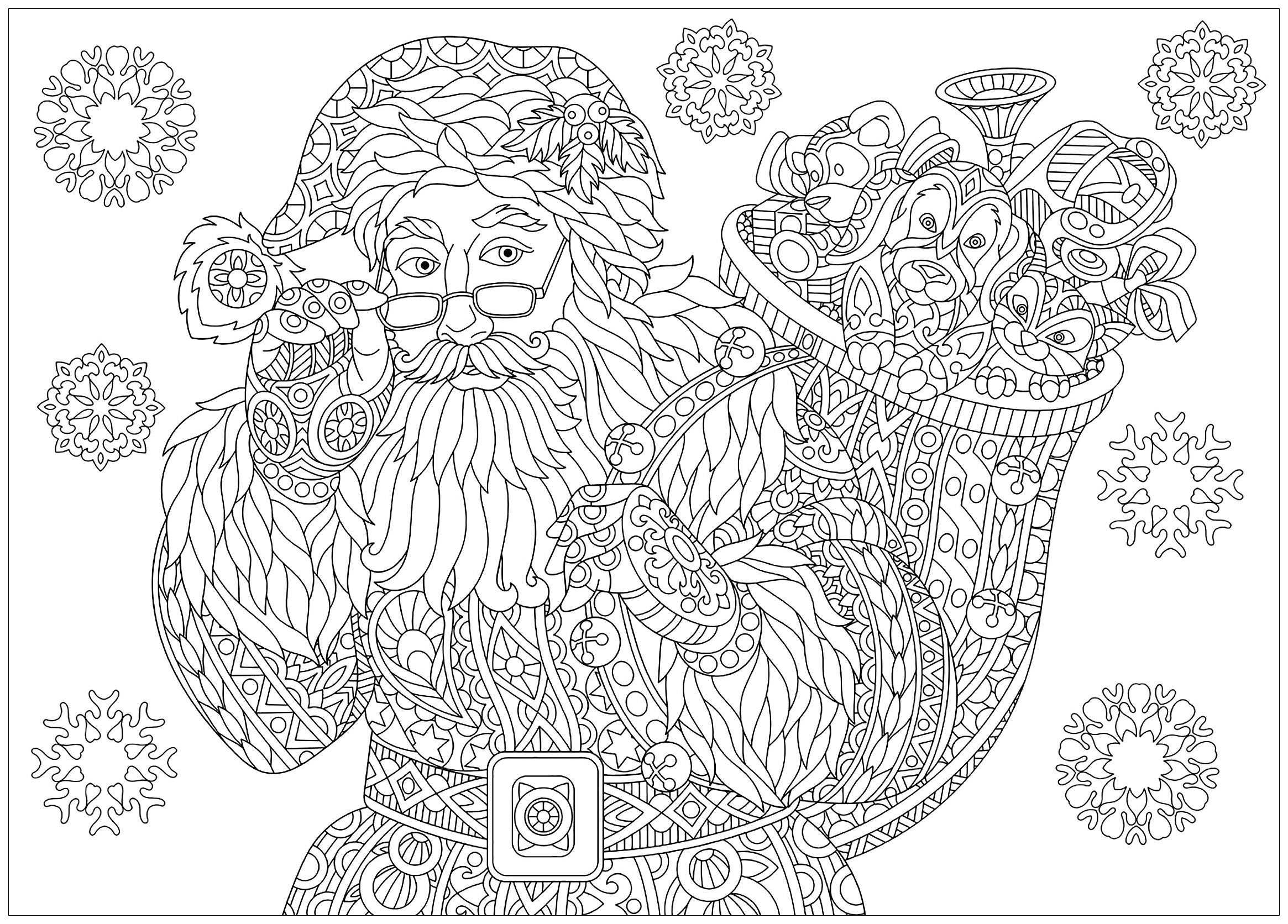 coloring page of santa claus with full bag of holiday gifts