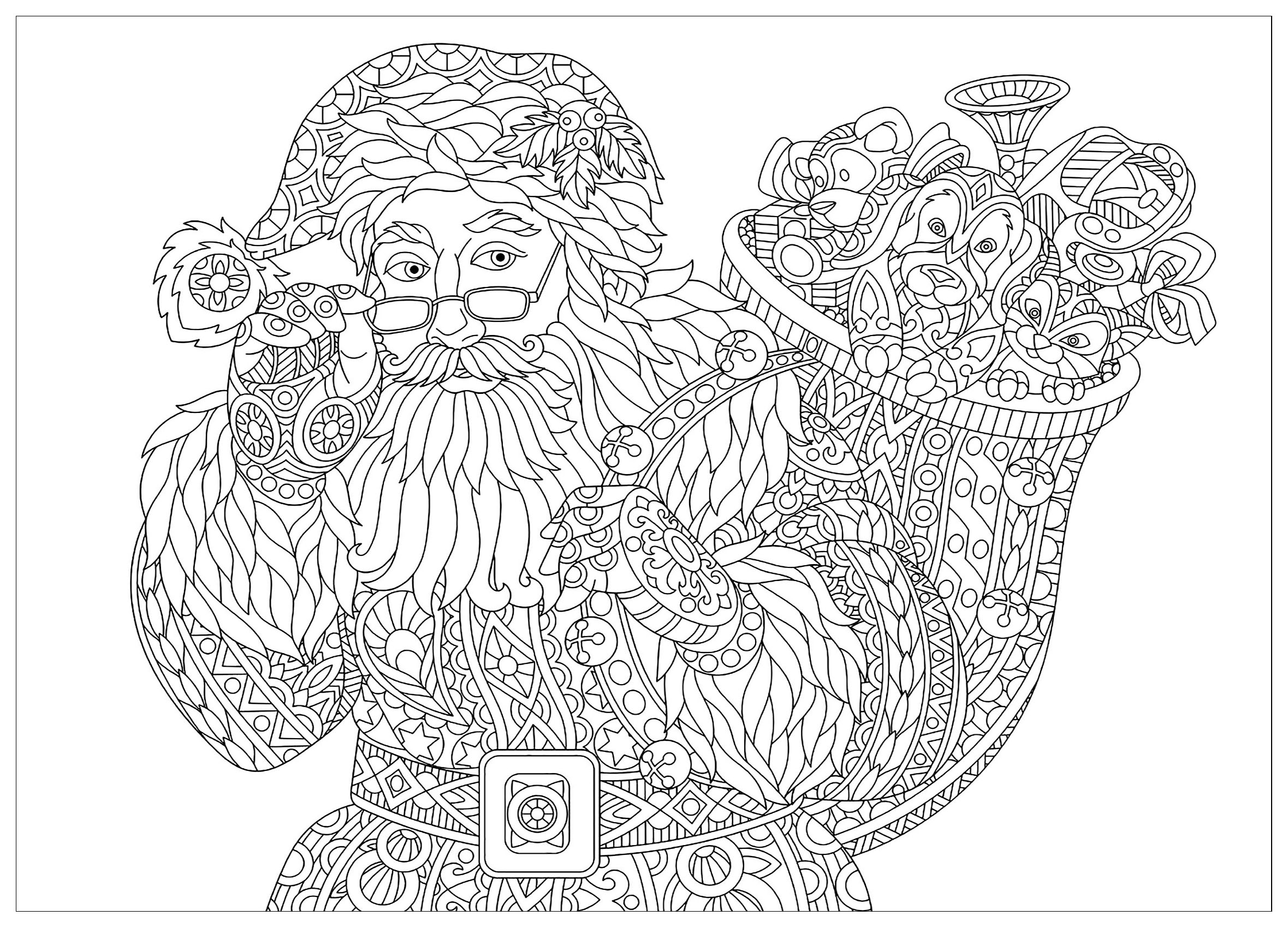 coloring page of santa claus with full bag of holiday gifts and christmas vintage snowflakes in background