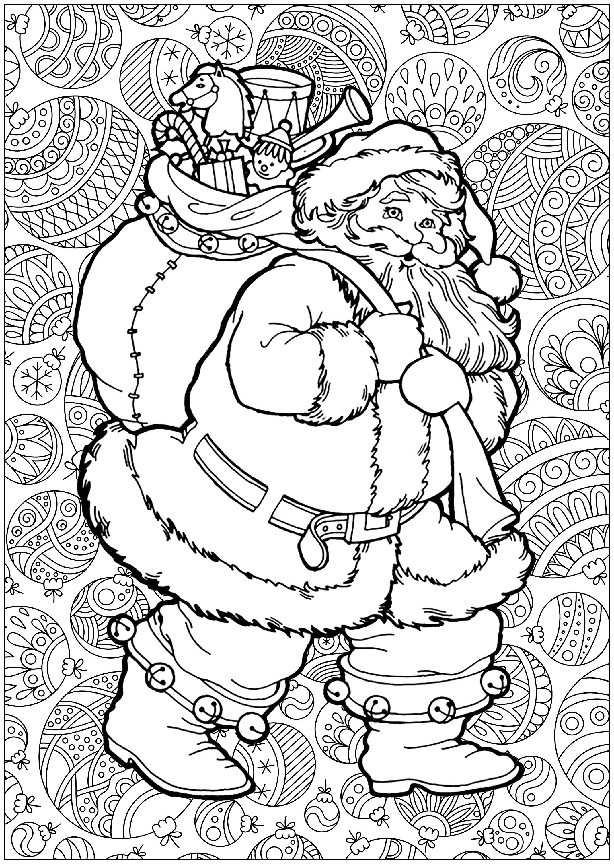 Coloring santa claus with background