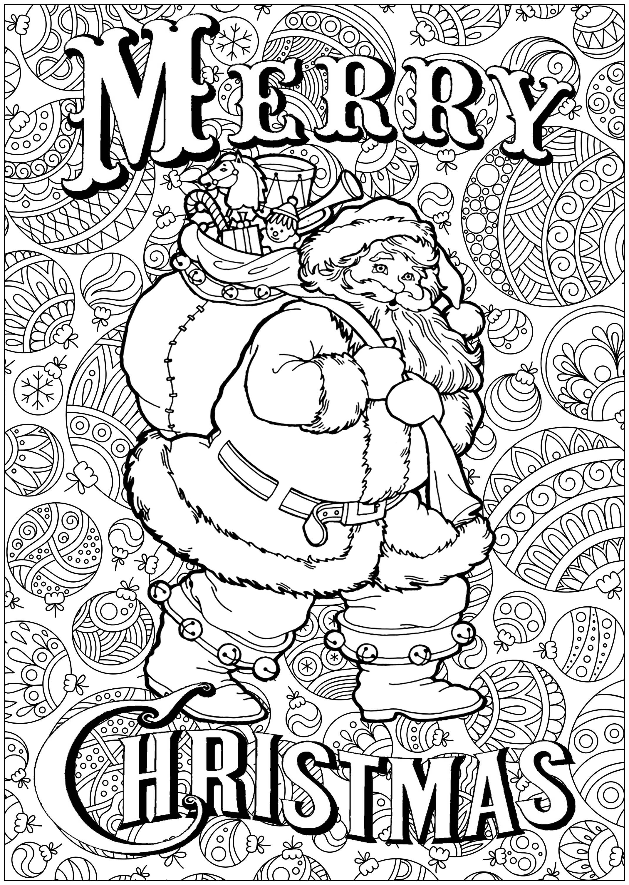 coloring santa claus with text and background - Christmas Coloring Pages For Adults