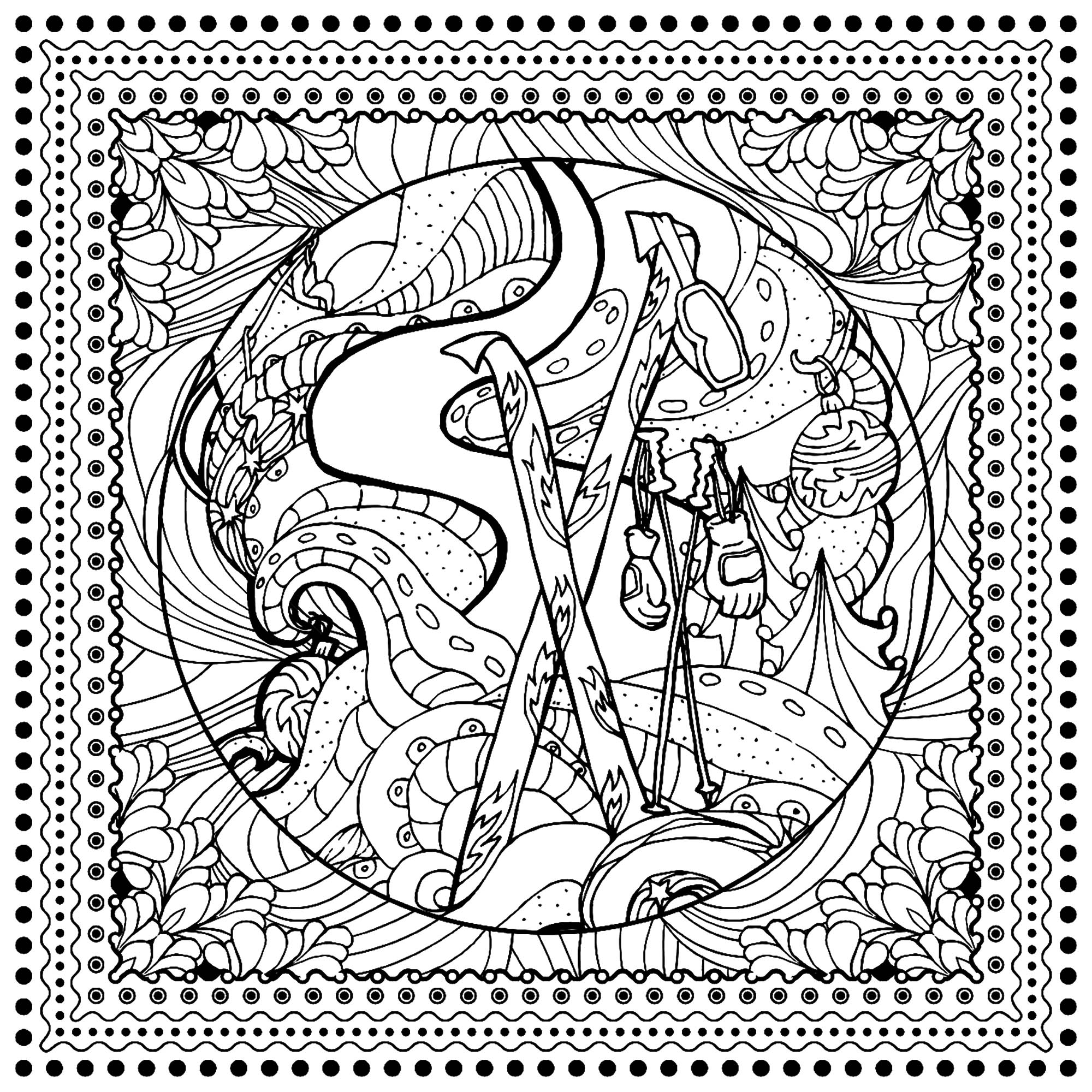 winter sports ilonitta christmas adult coloring pages. Black Bedroom Furniture Sets. Home Design Ideas