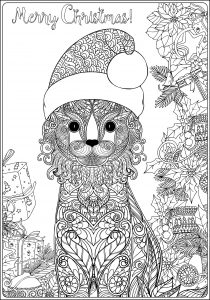 Coloring christmas cat with gifts long version