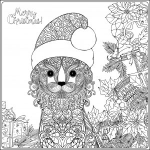 Coloring christmas cat with gifts