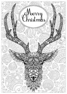 Coloring deer with text and background