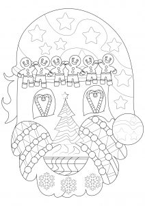Head of Santa Claus with Christmas symbols