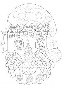 Head of Santa Claus with Christmas symbols