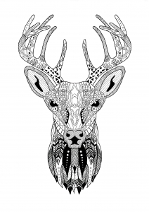 Coloring Page Zentangle Reindeer Christmas