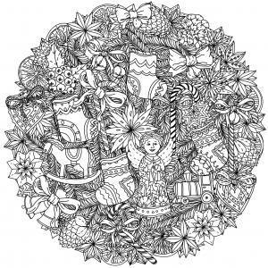 coloring-adult-christmas-mandala-by-mashabr free to print