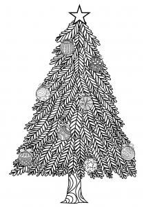 coloring-adult-christmas-tree-with-ball-ornaments-by-bimdeedee free to print