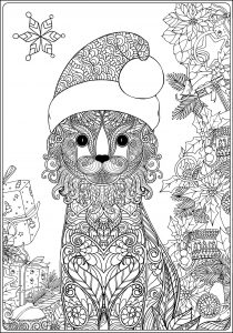 Coloring christmas cat with gifts long version without text