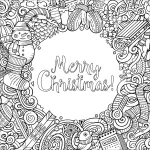 Merry christmas doodles with text