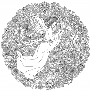 Color This Incredible Circular Drawing With An Angel Surrounded By Plenty Of Snowflakes