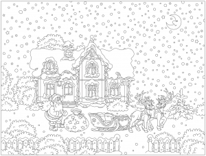 drawing with santa claus and his reindeer sled in front of a beautiful house with a sky full of snow