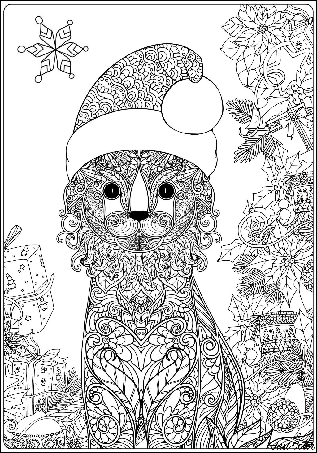A Cat ready for Christmas time, with beautiful ornaments around, and complex patterns