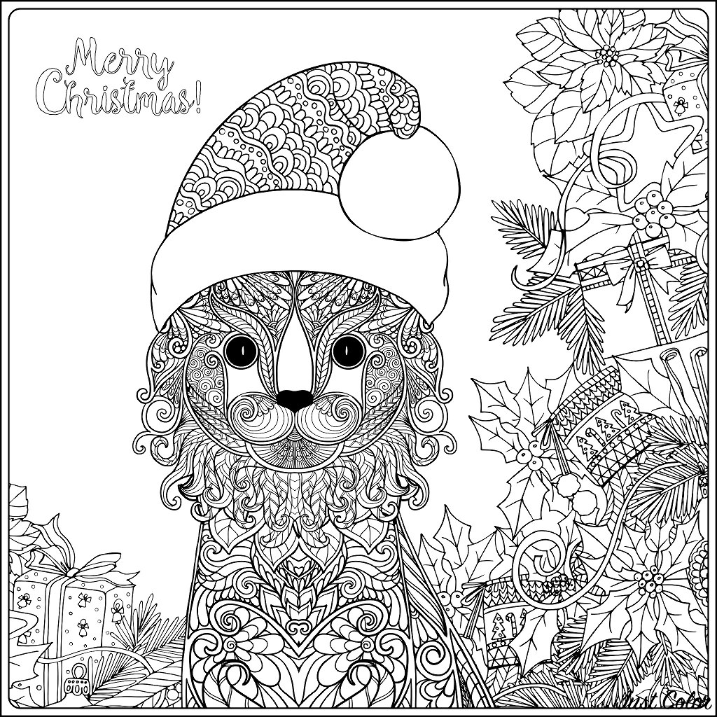 A squared coloring page with a cute Christmas cat, full of elegant paterns. The text 'Merry Christmas' can be colored, and also all the leaves, gifts and ornaments.