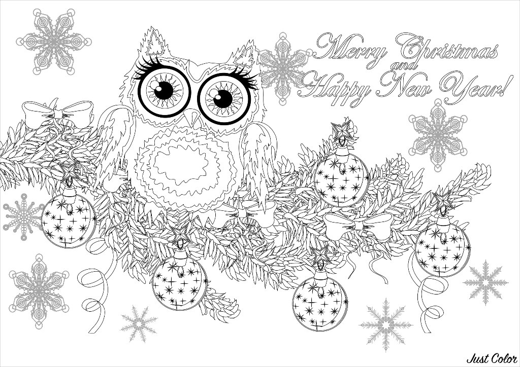 Cute owl on a branch of a Christmas tree, with Stars in background, and text