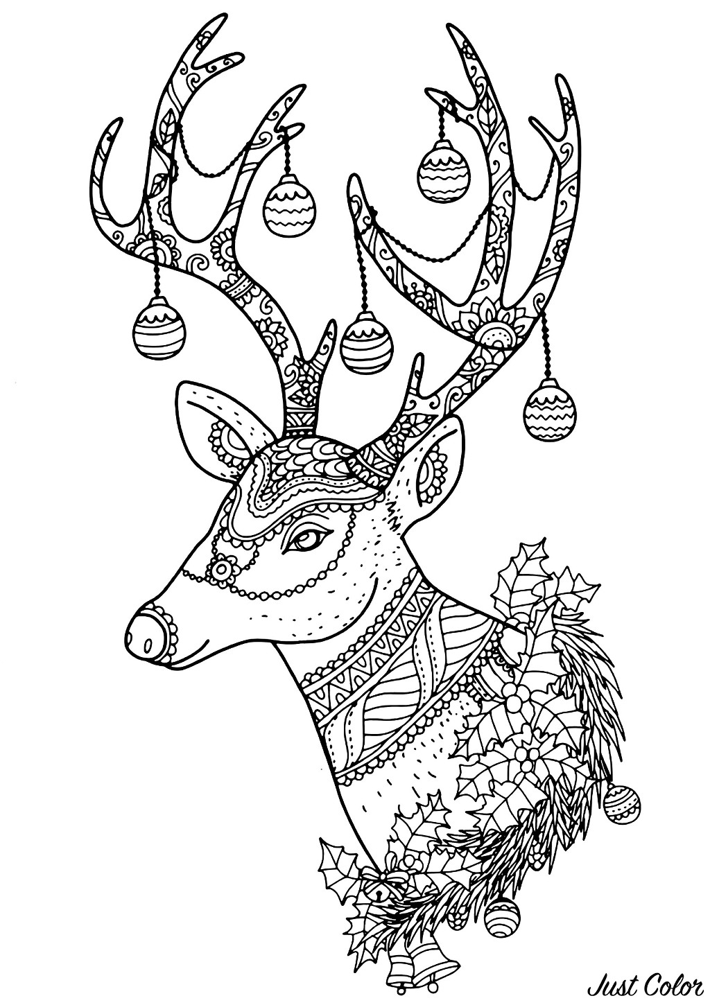 Christmas Reindeer, with beautiful patterns