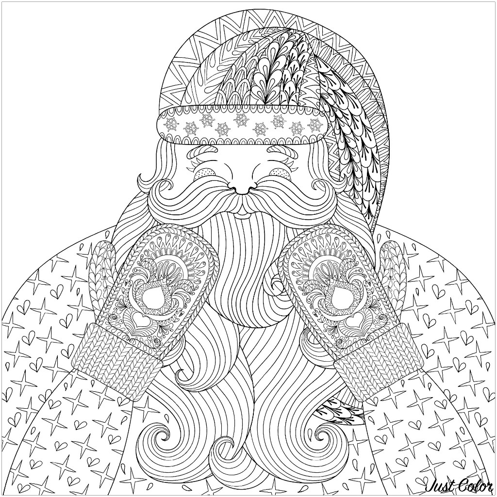 Color this smiling and happy Santa Claus with knitted mittens, with patterns designed in Zentangle style