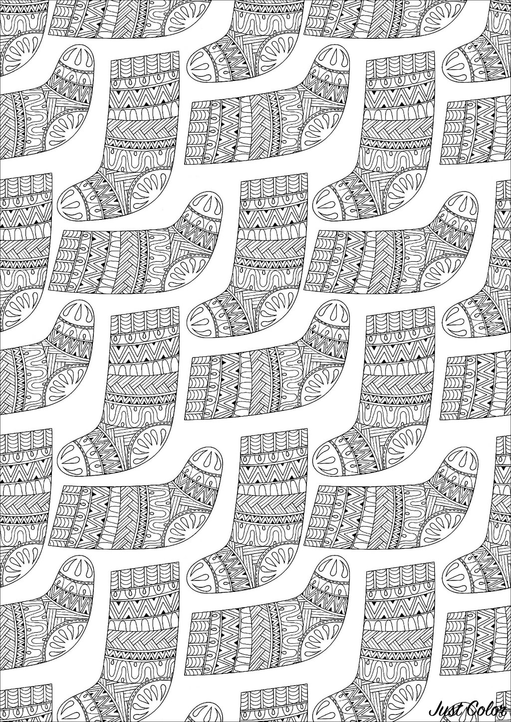 Color these cute Christmas socks with cool patterns and designs inside